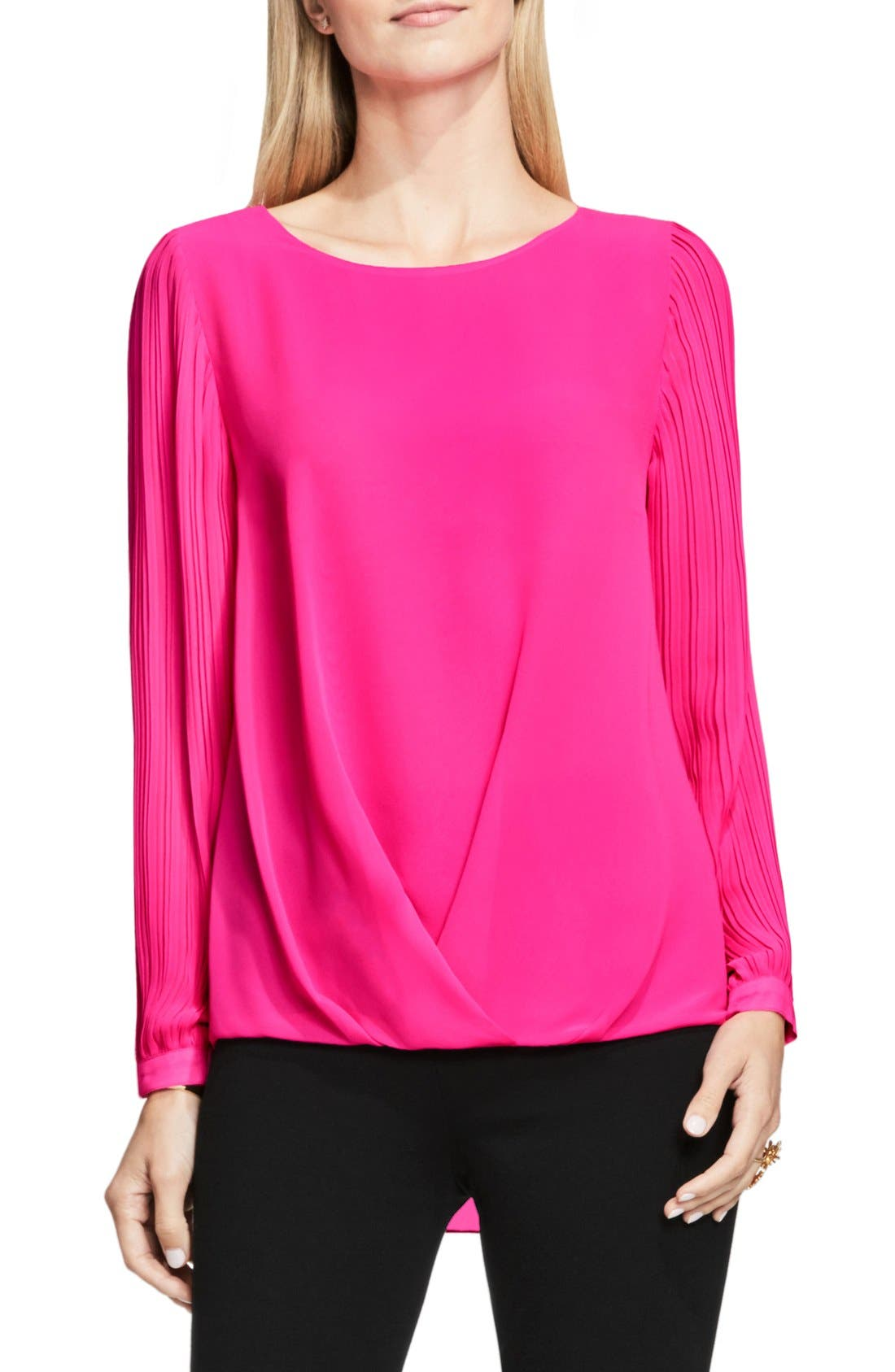 Alternate Image 1 Selected - Vince Camuto Pleat Sleeve Drape Front Blouse