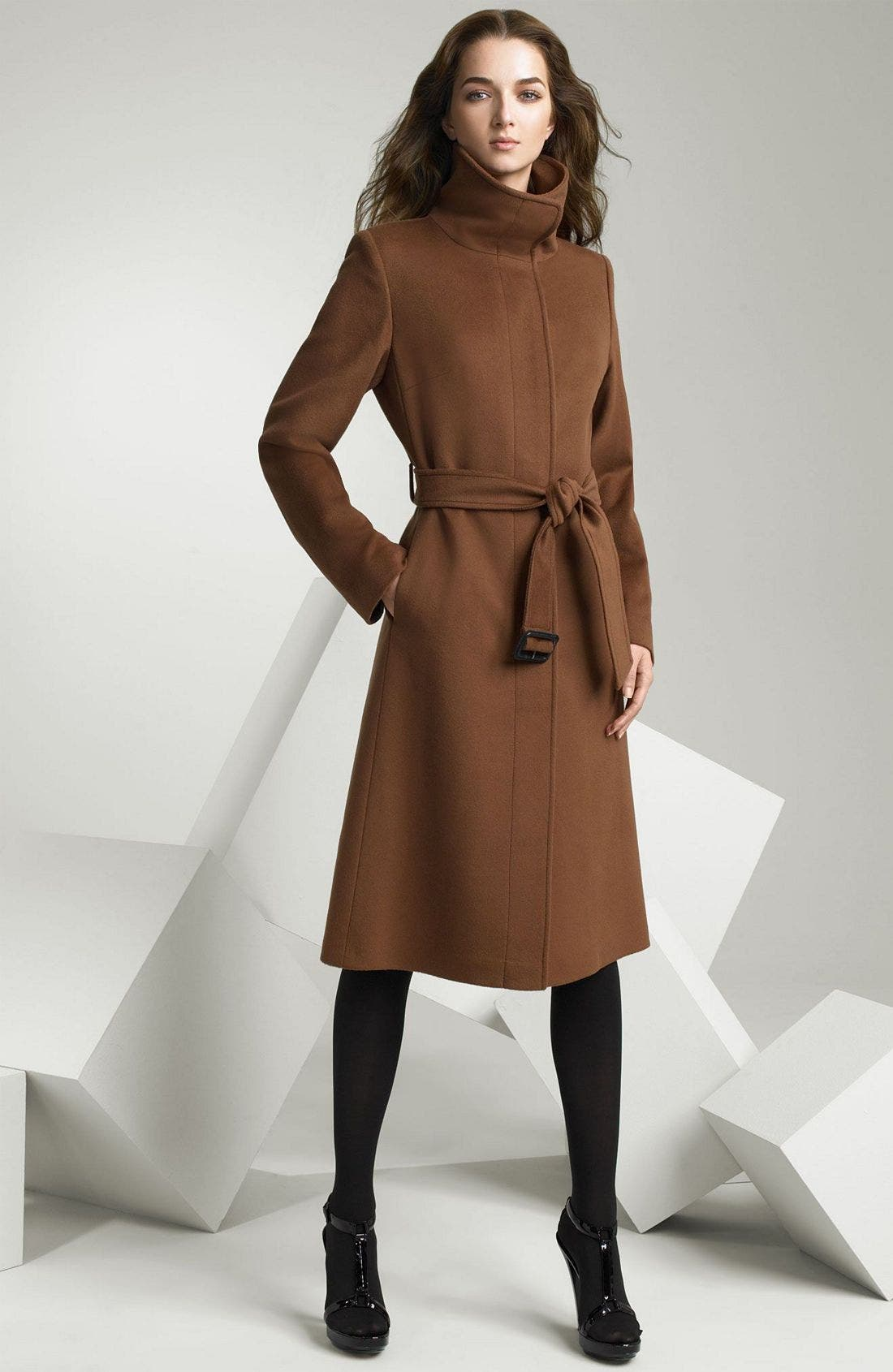 Main Image - Burberry Funnel Collar Cashmere Blend Coat