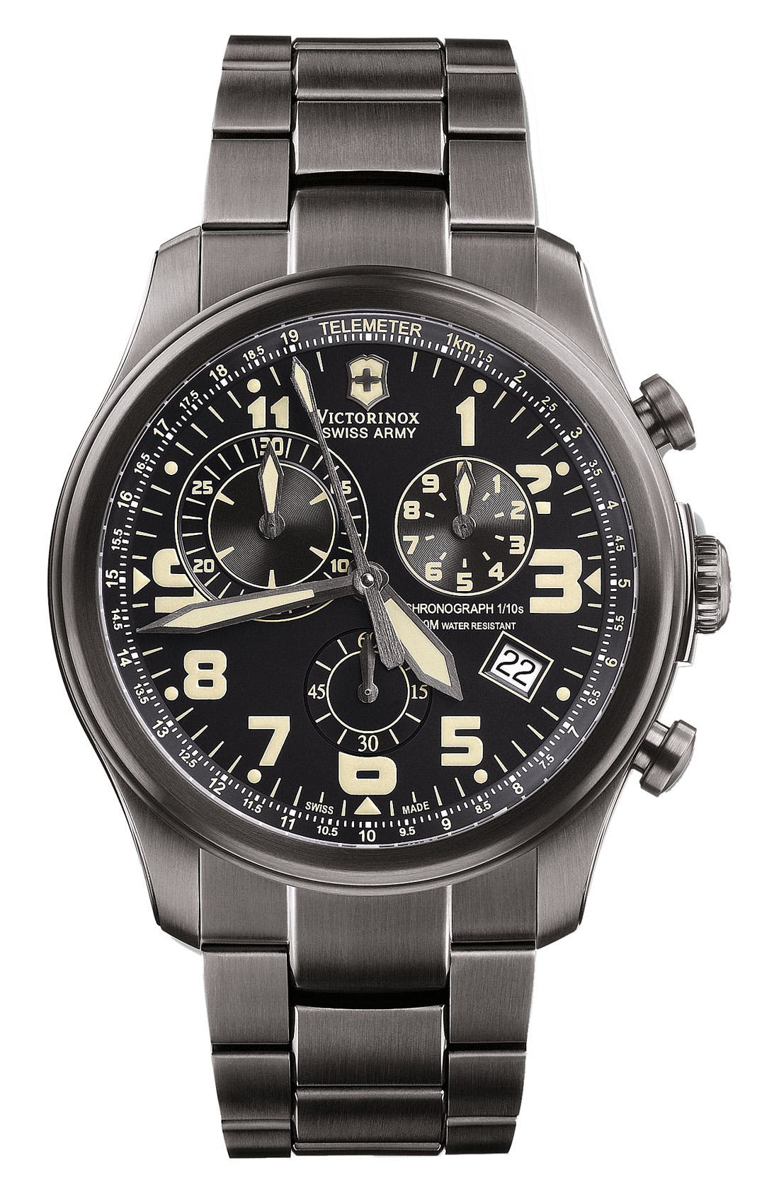 Alternate Image 1 Selected - Victorinox Swiss Army® 'Infantry - Vintage' Leather Strap Watch, 44mm