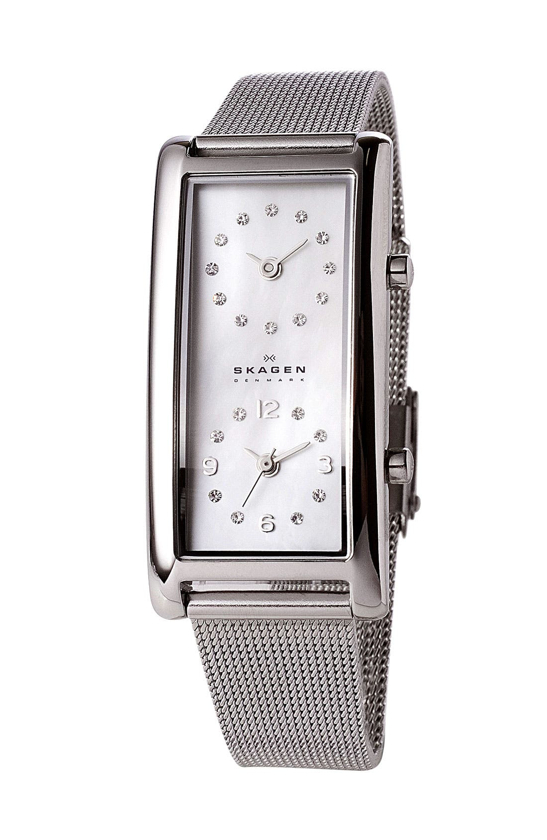 Alternate Image 1 Selected - Skagen Dual Time Mesh Band Watch, 19mm x 36mm