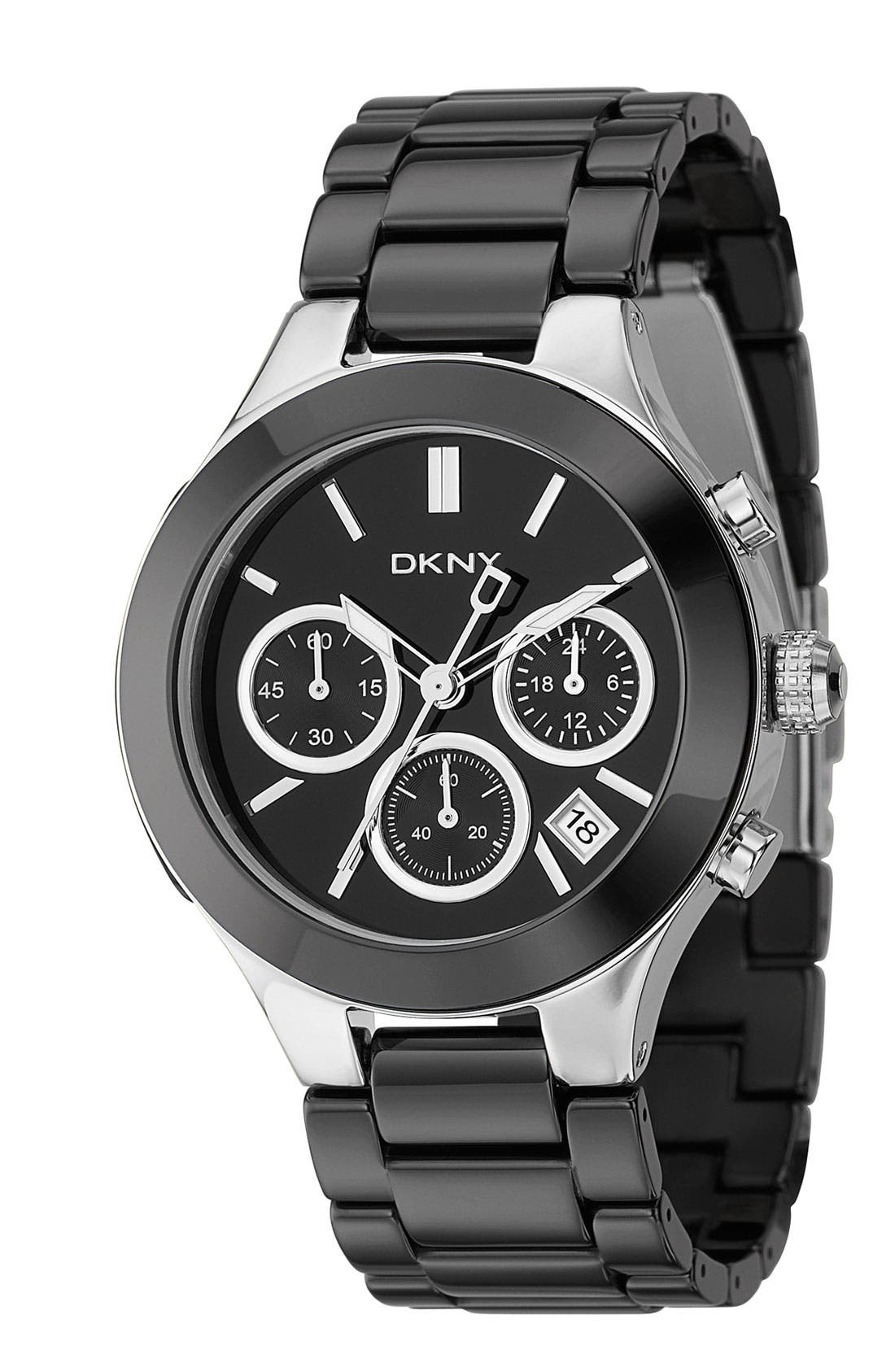 Alternate Image 1 Selected - DKNY 'Chambers' Ceramic Chronograph Bracelet Watch, 39mm