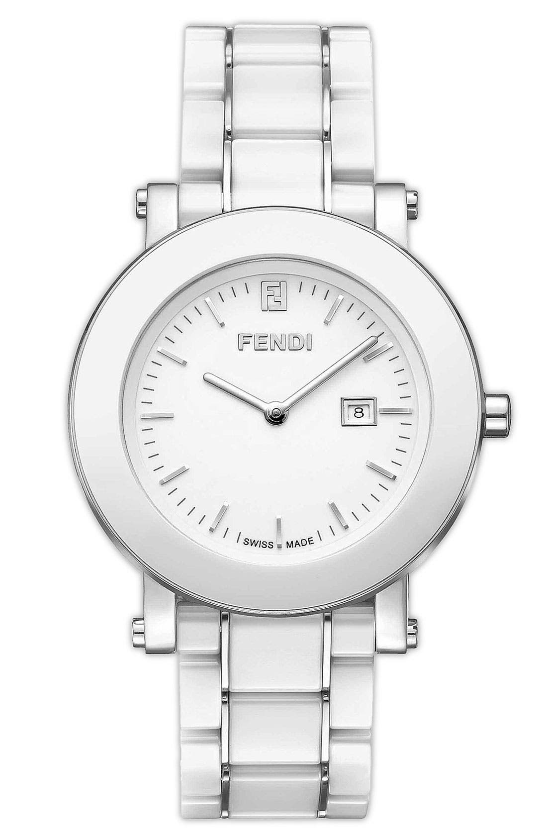 Alternate Image 1 Selected - Fendi Large Ceramic Round Case Watch, 38mm