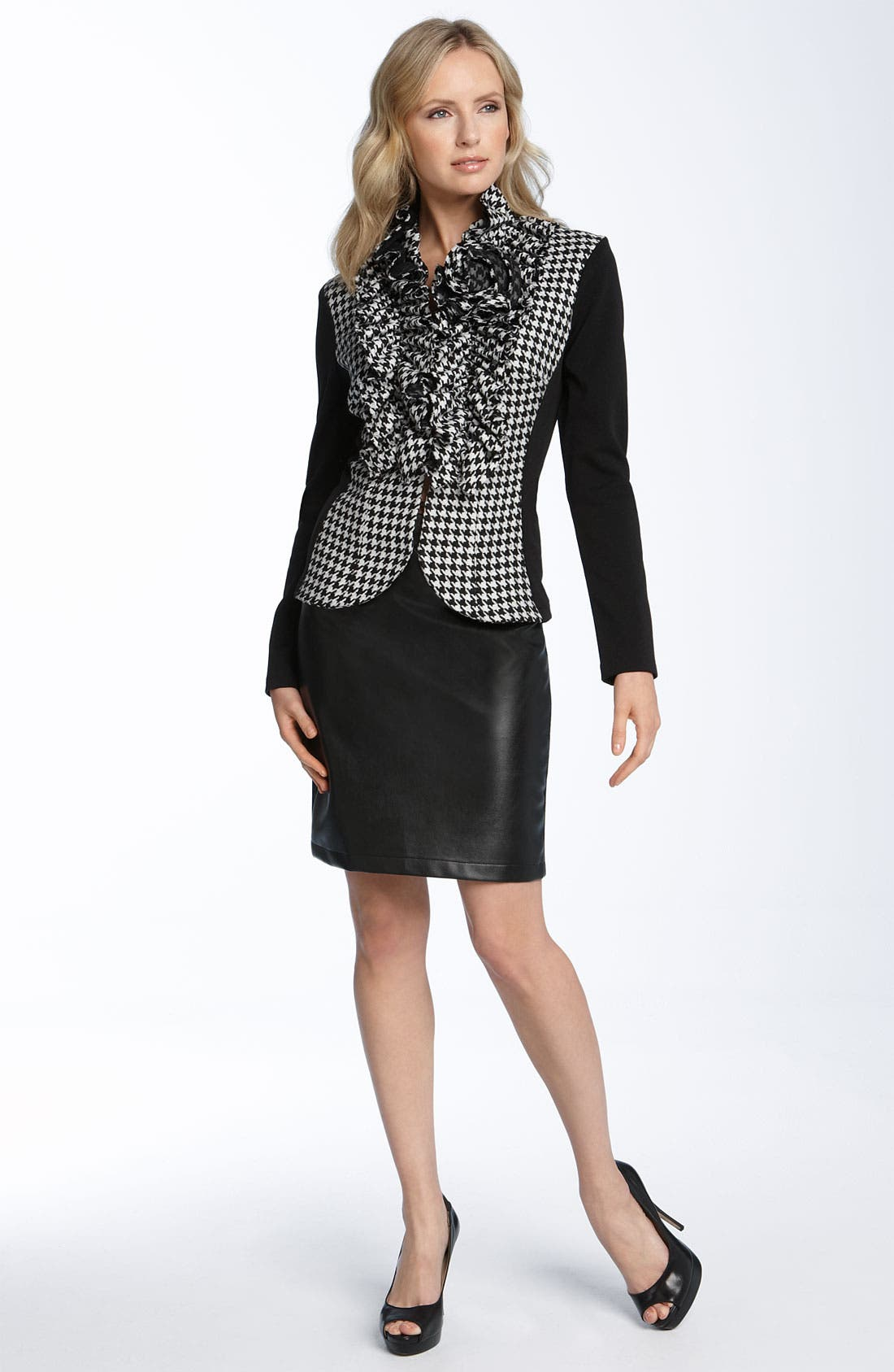 Alternate Image 2  - Alberto Makali Knit & Faux Leather Pencil Skirt