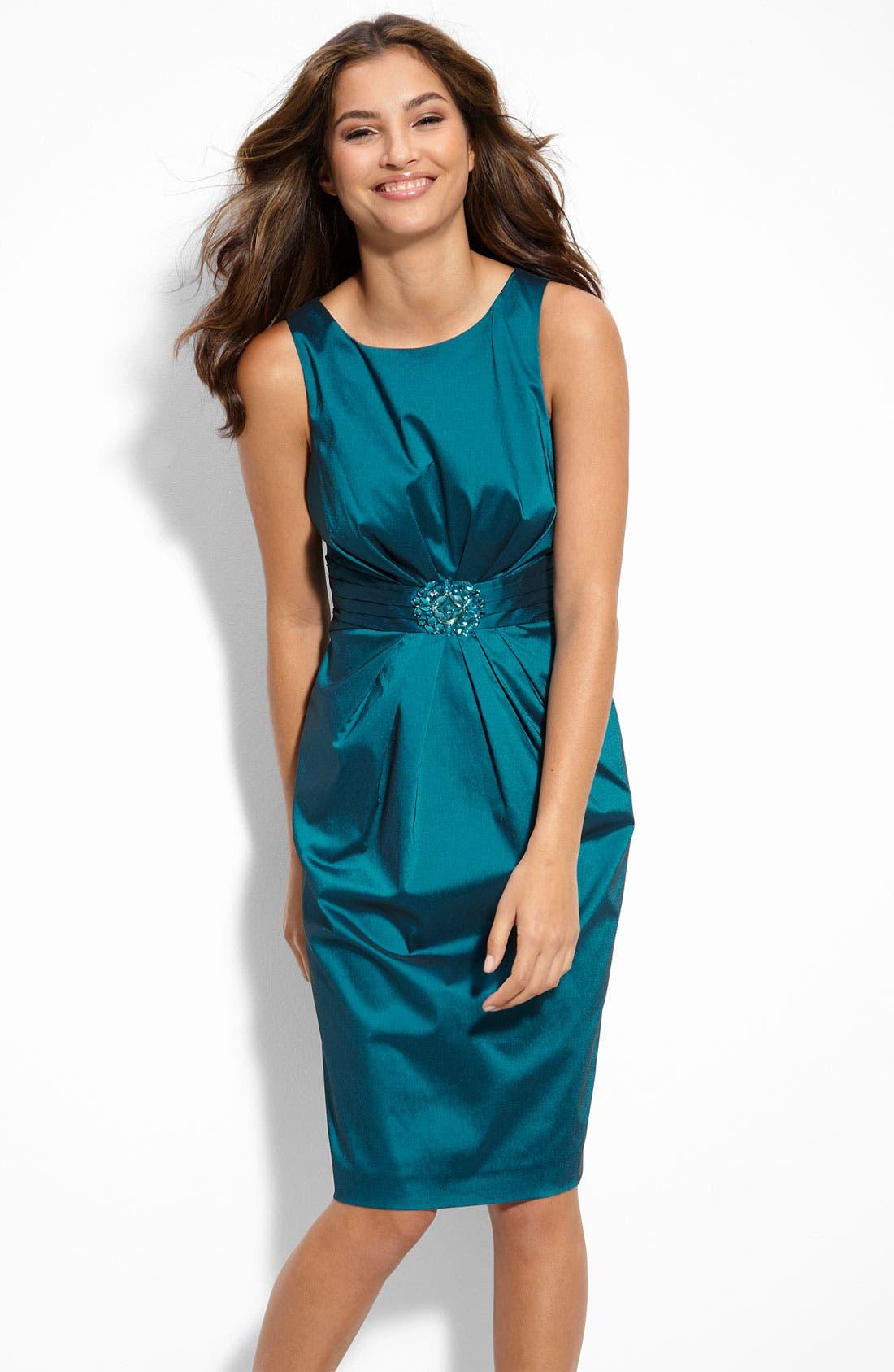 Main Image - Eliza J Jewel Waist Taffeta Sheath Dress