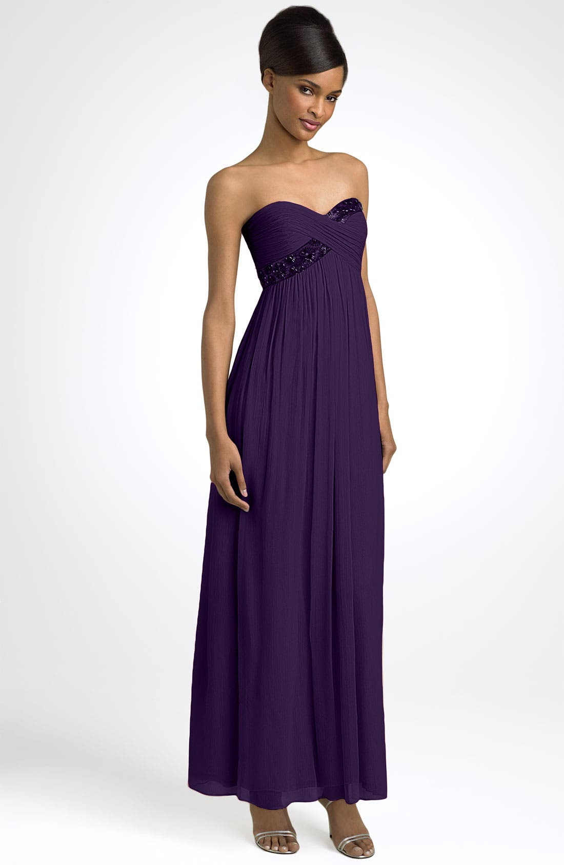 Main Image - Maggy London Strapless Beaded Chiffon Empire Gown