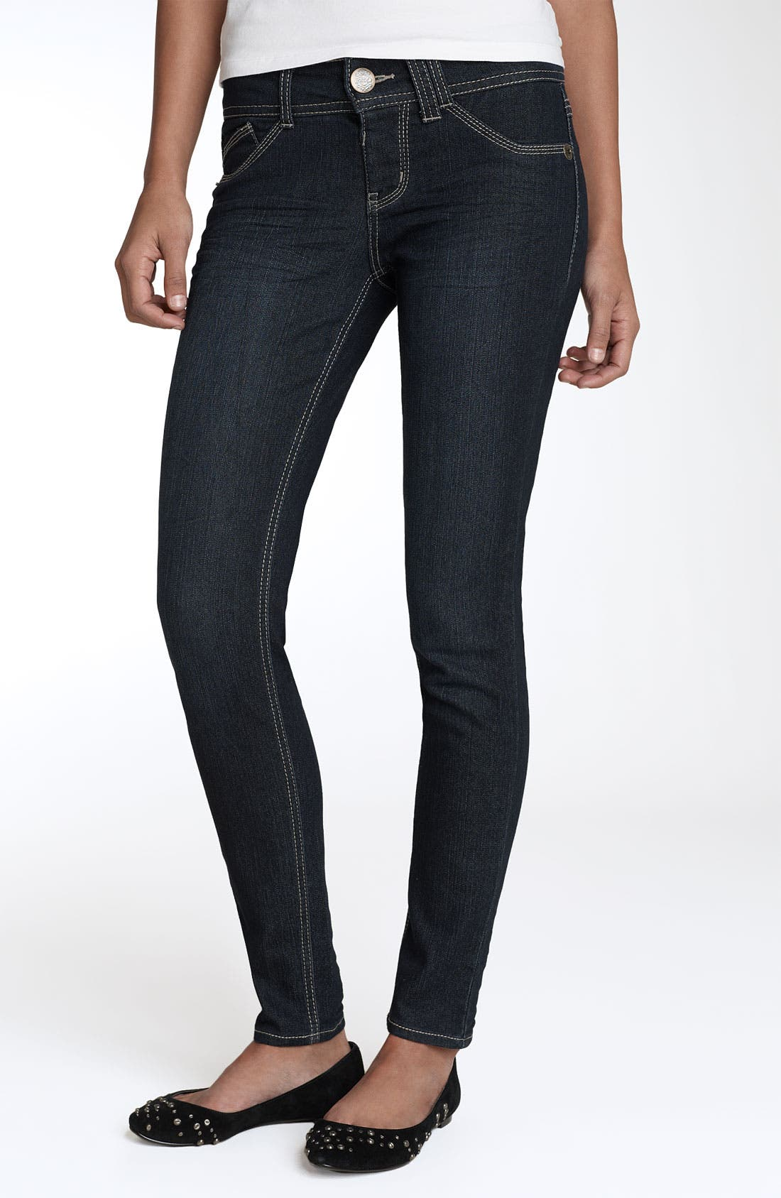 Alternate Image 2  - Jolt 'Pick Me Up' Stretch Denim Leggings (Denim) (Juniors)
