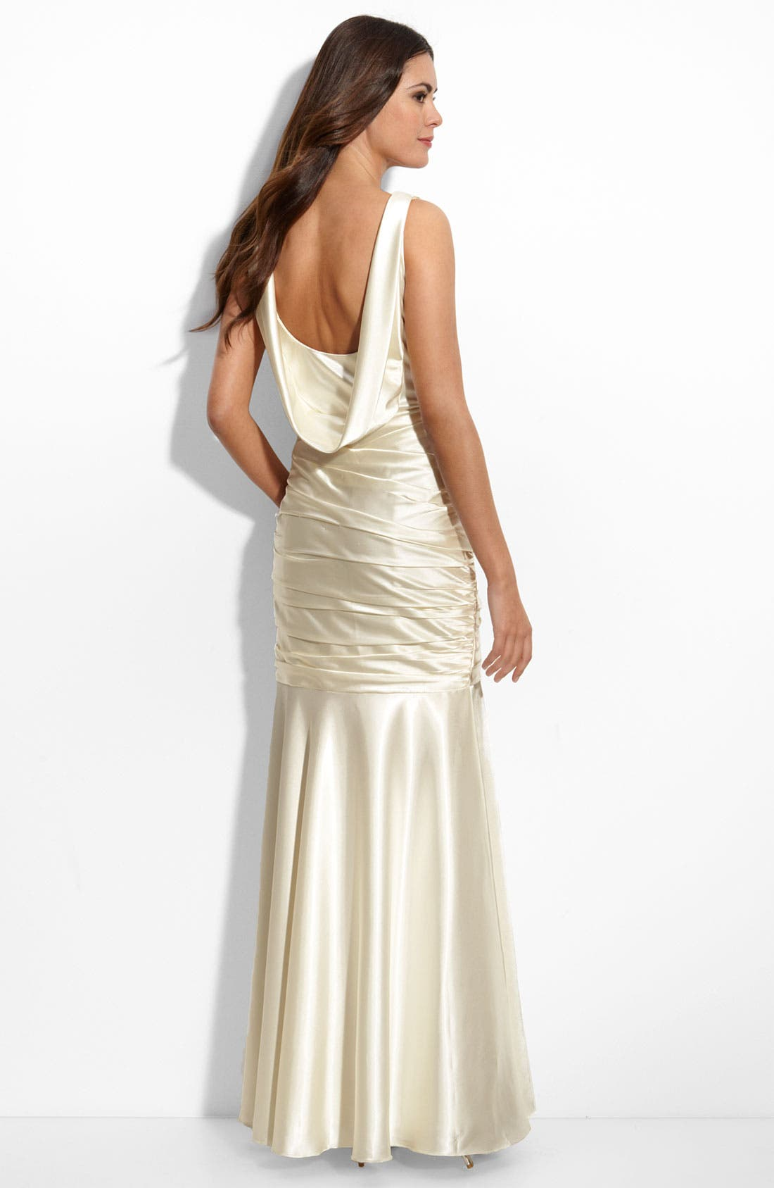Alternate Image 2  - JS Collections Cowl Back Stretch Satin Mermaid Gown
