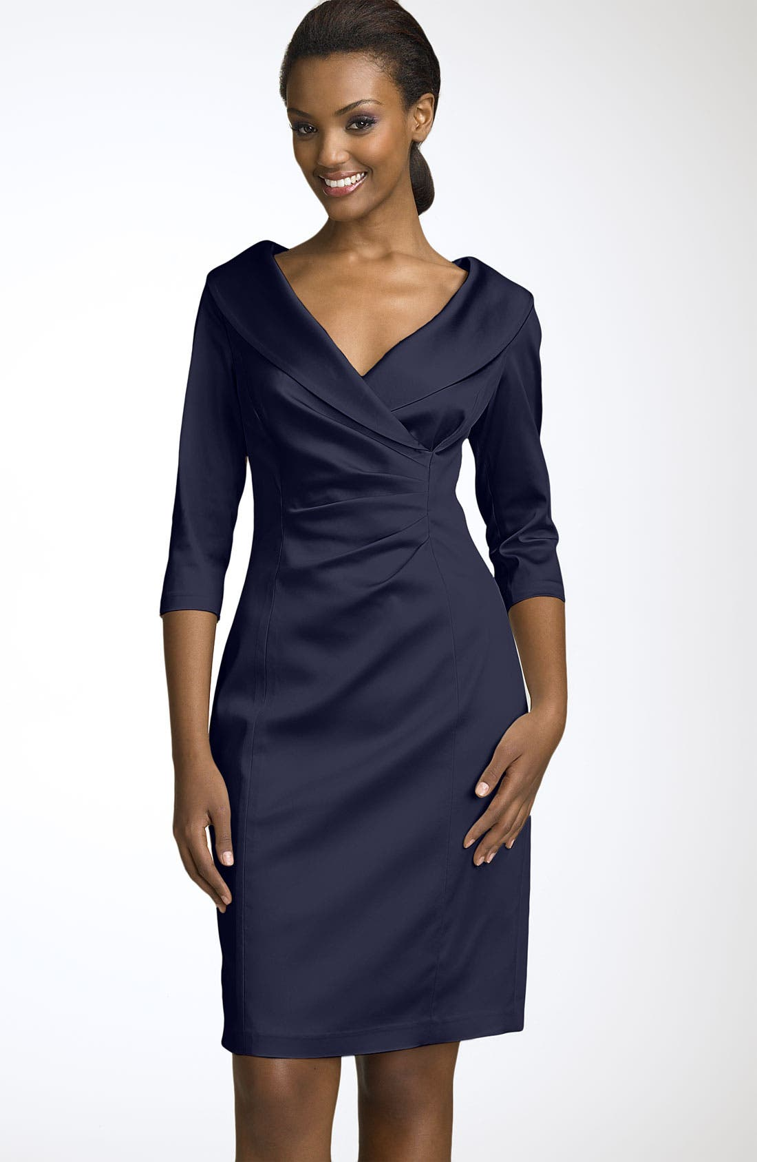 Alternate Image 1 Selected - Kay Unger Stretch Satin Sheath Dress