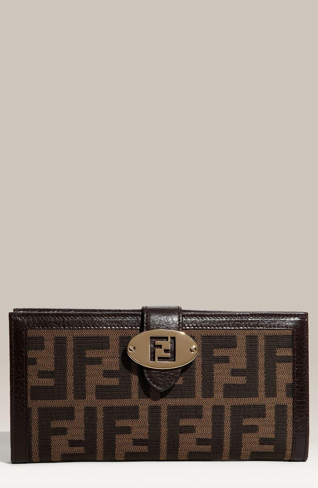 Main Image - Fendi 'Zucca' Checkbook Wallet