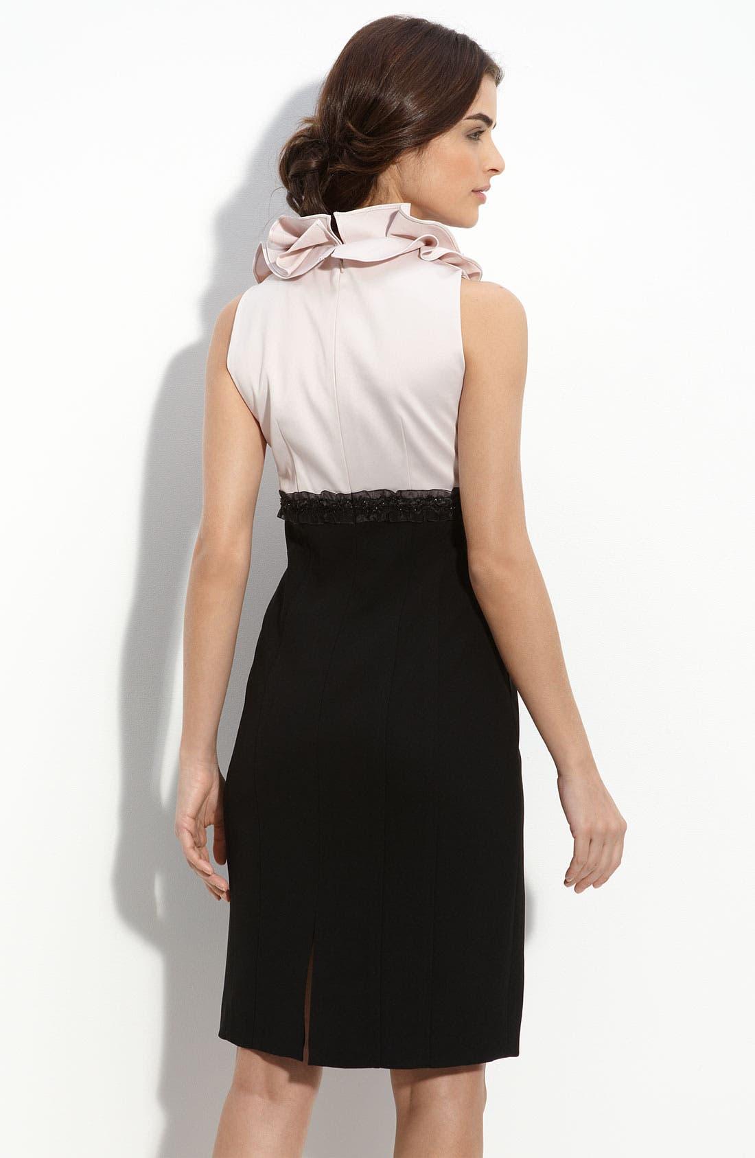 Alternate Image 2  - JS Collections Ruffle Neck Satin & Crepe Sheath Dress