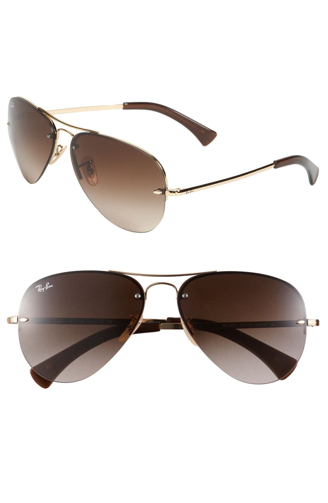 Alternate Image 1 Selected - Ray-Ban Highstreet 59mm Semi Rimless Aviator Sunglasses