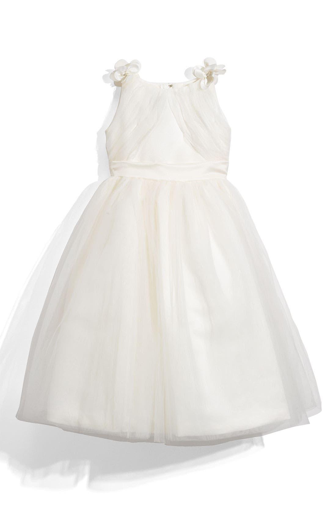Main Image - Joan Calabrese for Mon Cheri 'Illusion' Sleeveless Satin Dress (Little Girls & Big Girls)