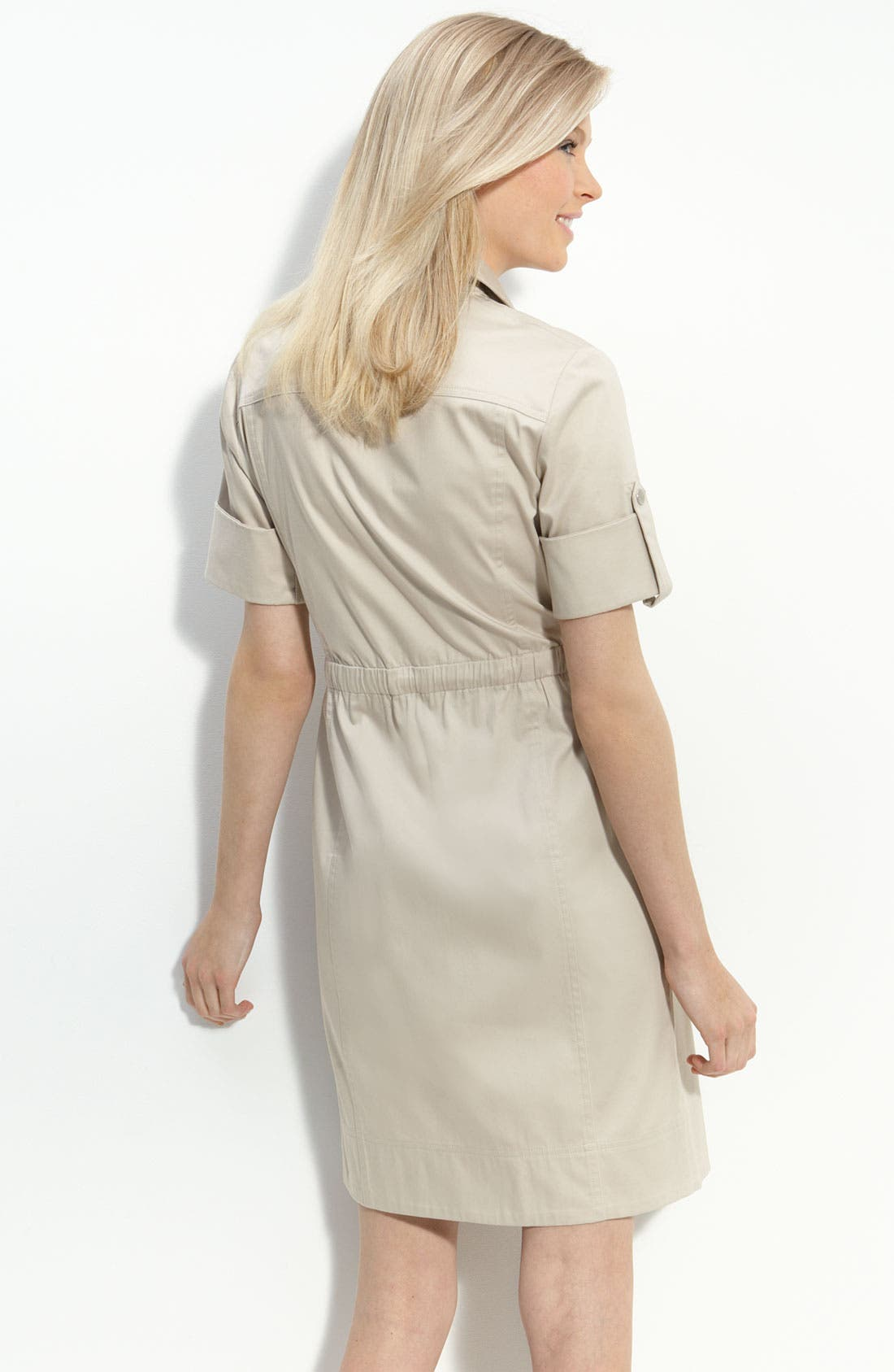 Alternate Image 2  - Calvin Klein Drawstring Waist Stretch Cotton Shirtdress