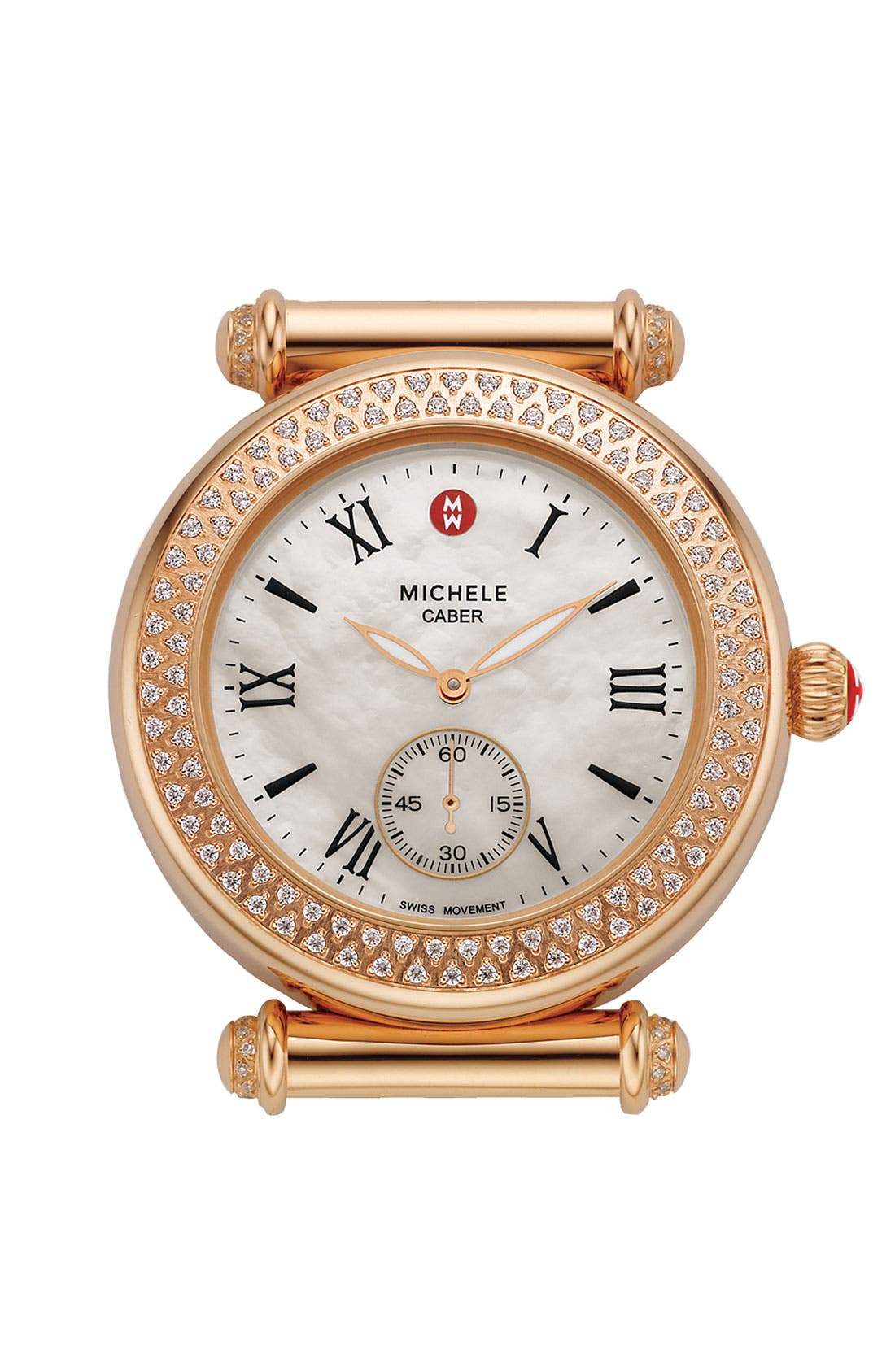 Main Image - MICHELE 'Caber' Diamond Rose Gold Watch Case, 38mm