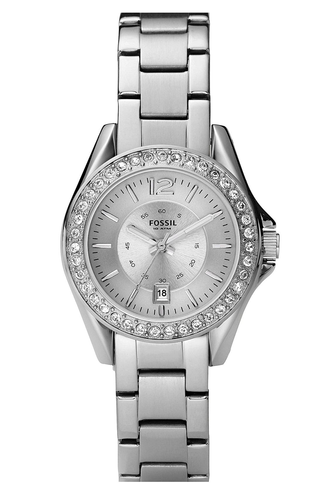 Alternate Image 1 Selected - Fossil 'Small Riley' Round Bracelet Watch, 30mm