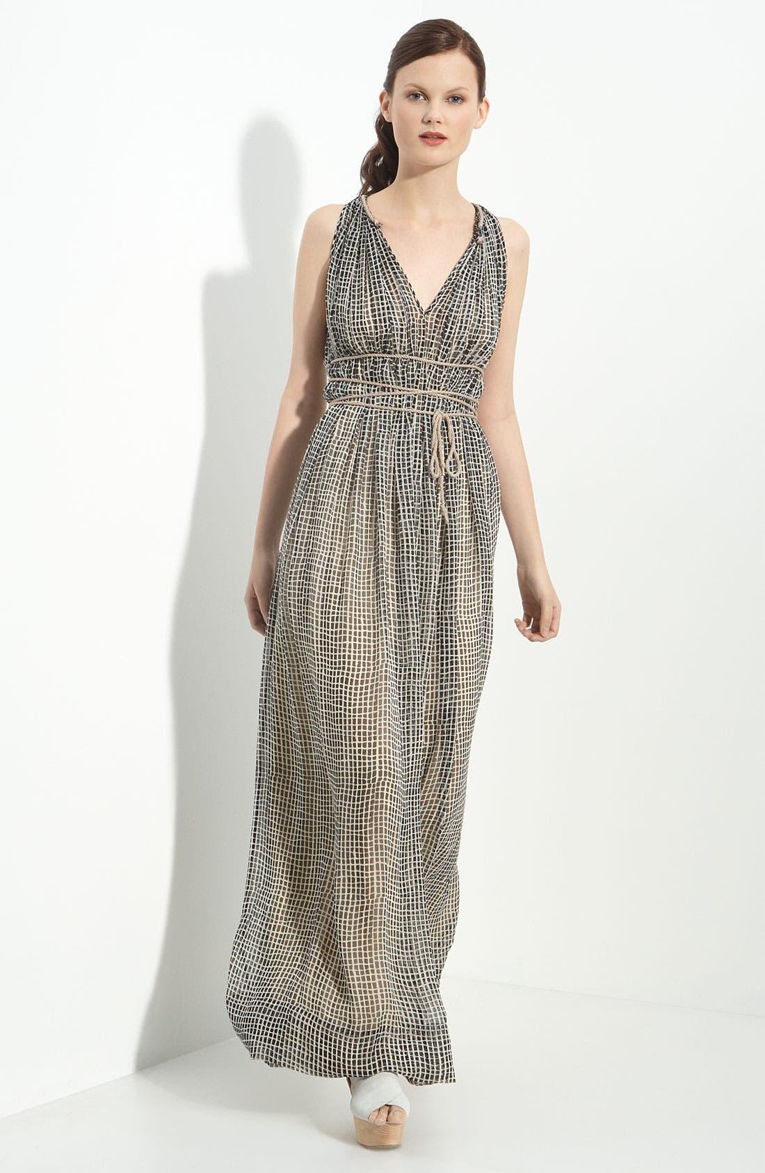 Alternate Image 1 Selected - 3.1 Phillip Lim Painted Check Print Silk Maxi Dress