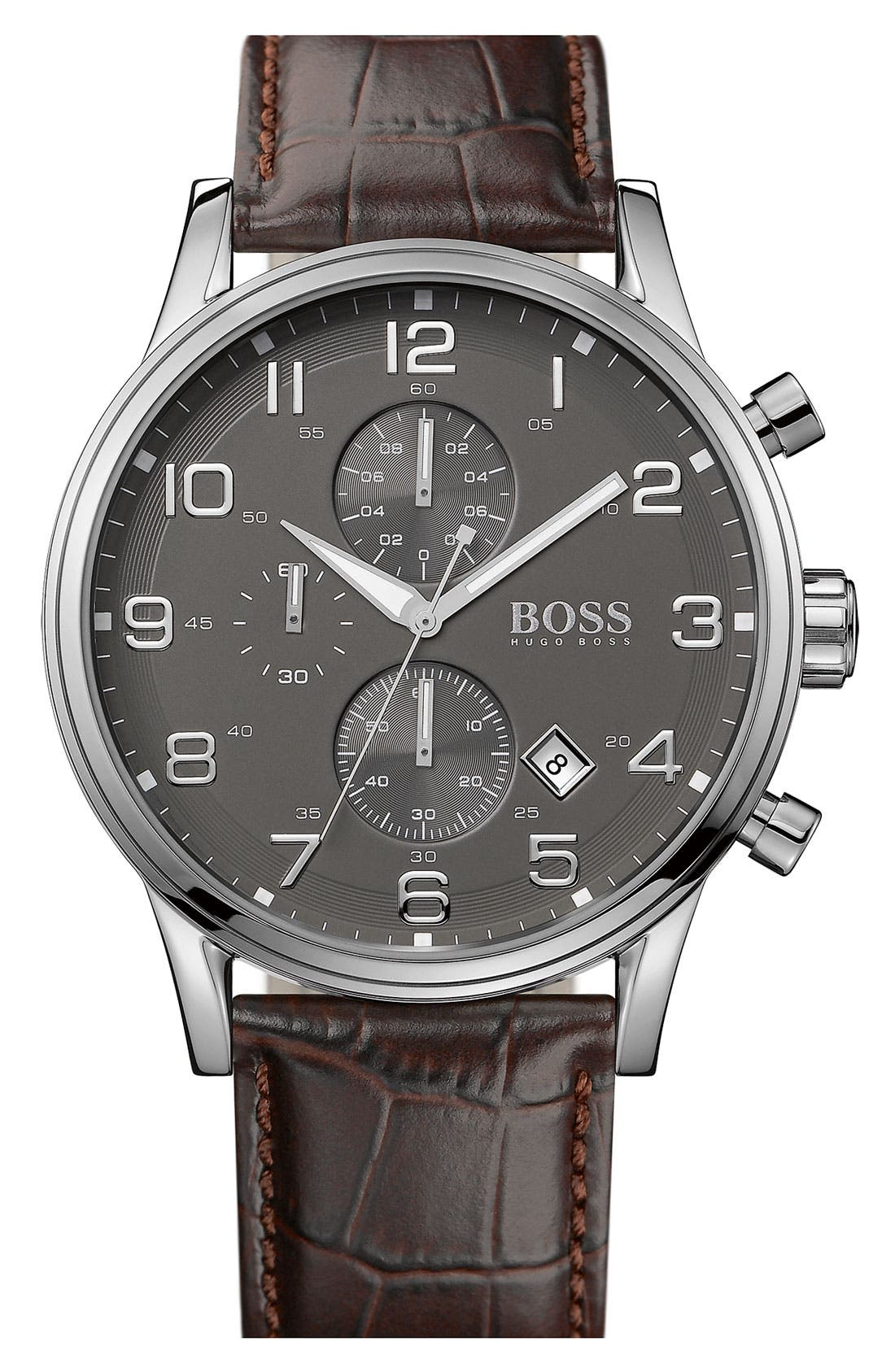 Alternate Image 1 Selected - BOSS Stainless Steel & Leather Chronograph Watch, 44mm