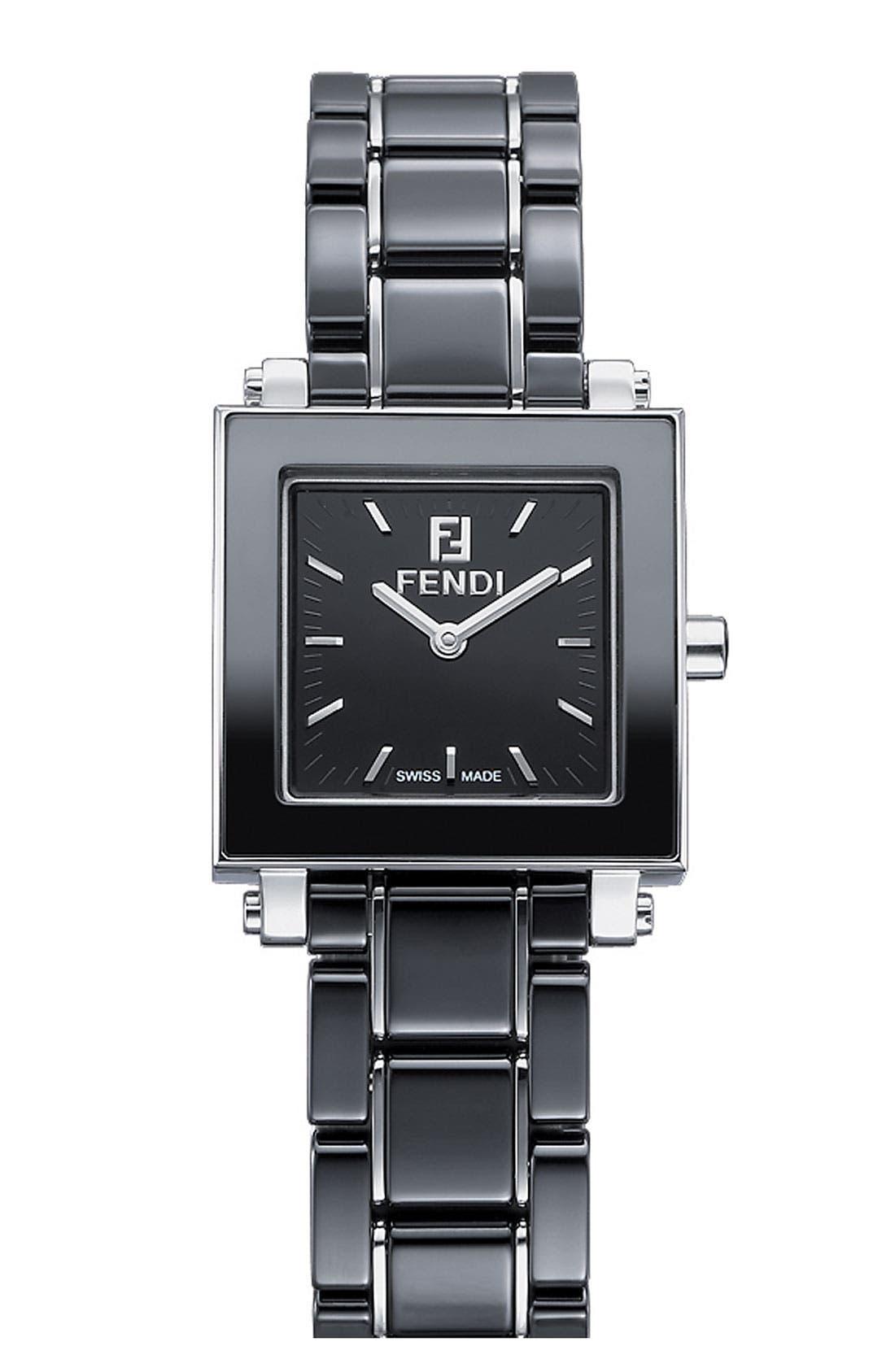 Alternate Image 1 Selected - Fendi Ceramic Square Case Watch, 25mm