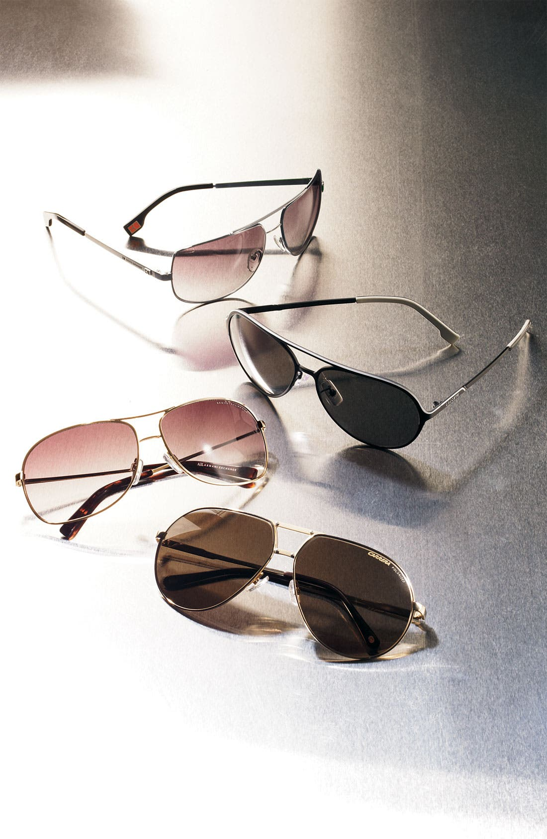 Alternate Image 2  - AX Armani Exchange Metal Aviator Sunglasses