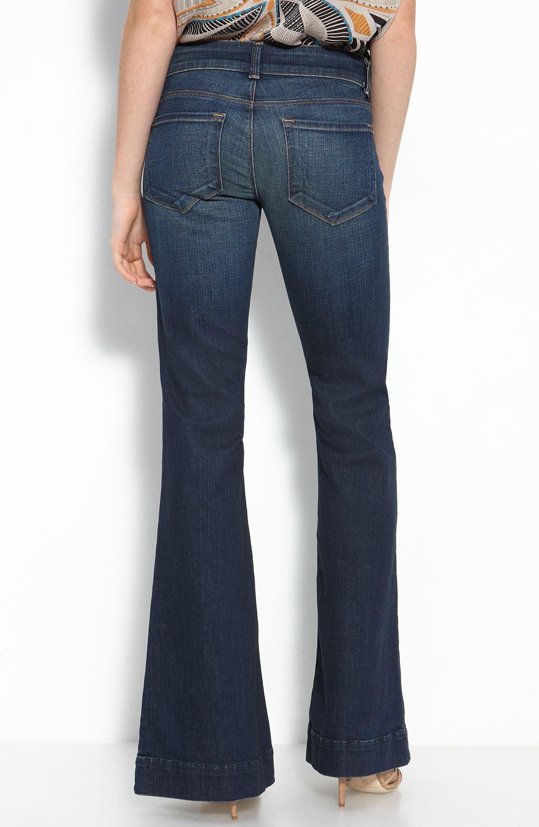 Alternate Image 1 Selected - J Brand 'Lovestory' Low Rise Bell Bottom Stretch Jeans (Dark Vintage Wash)