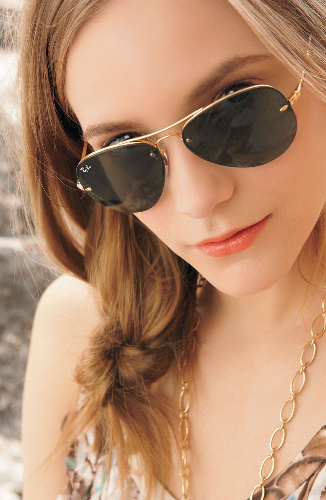 Alternate Image 3  - Ray-Ban Highstreet 59mm Semi Rimless Aviator Sunglasses