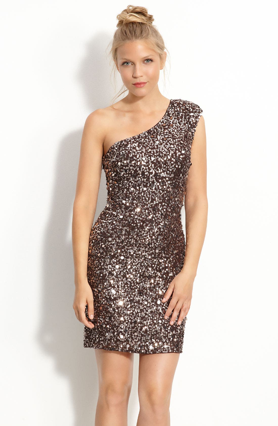 Alternate Image 1 Selected - Adrianna Papell Sequin One Shoulder Dress