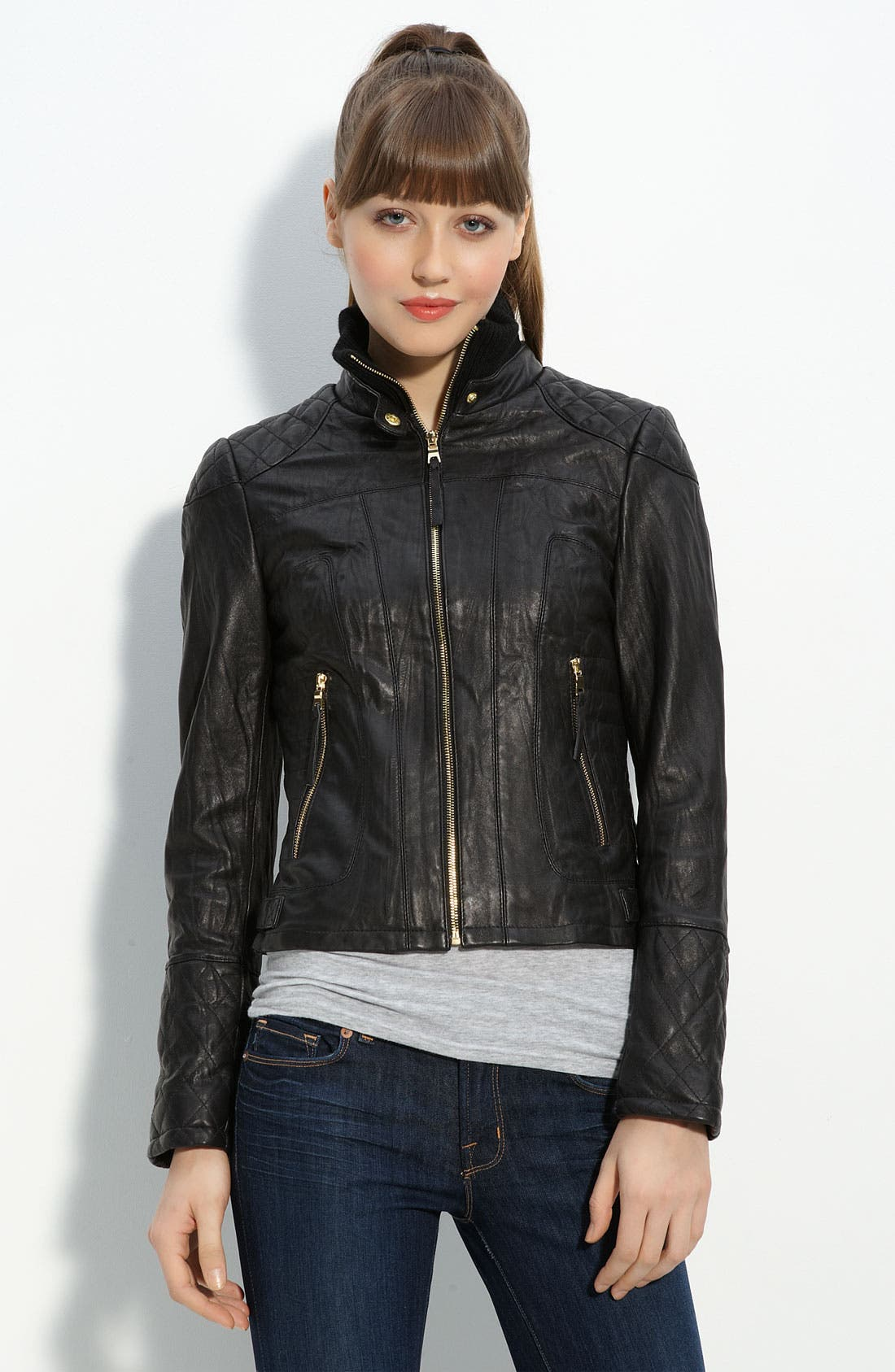 Main Image - bebe Quilted Lambskin Leather Jacket