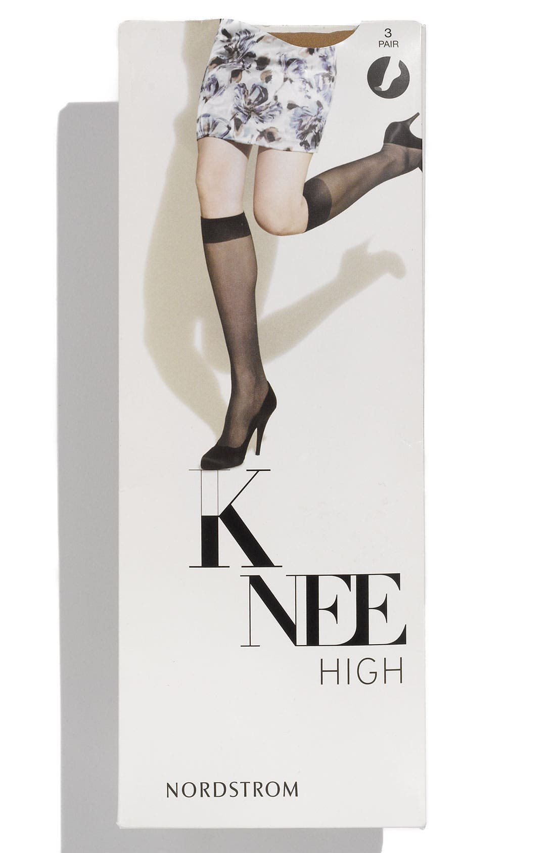 Main Image - Nordstrom Sheer Knee High Stockings with Reinforced Toe (3-Pack)
