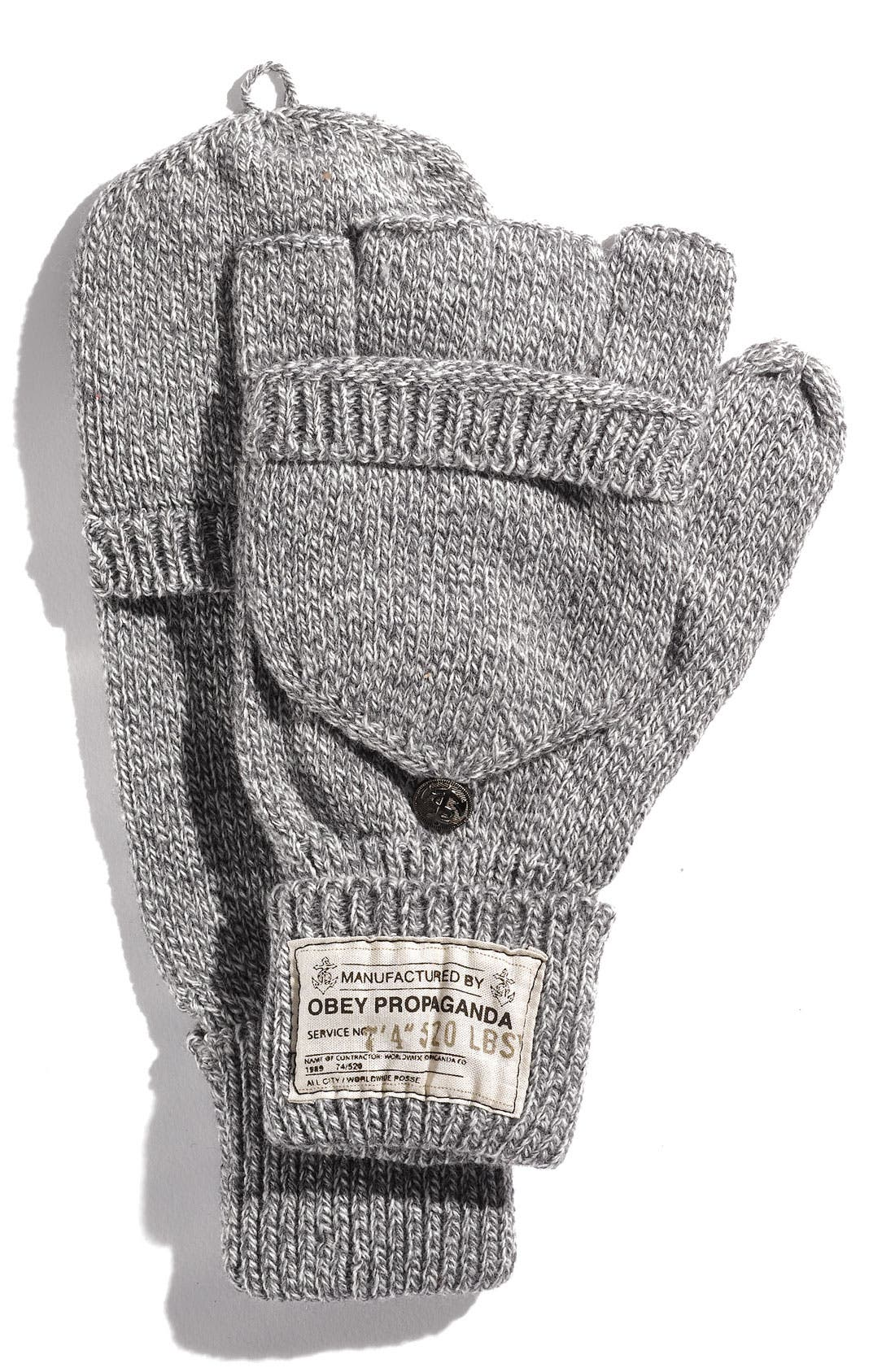 Main Image - Obey Fold Back Fingerless Mittens