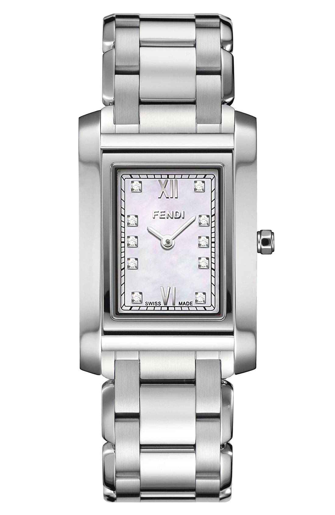 Main Image - Fendi 'Loop - Small' Diamond Dial Watch, 21mm x 34mm