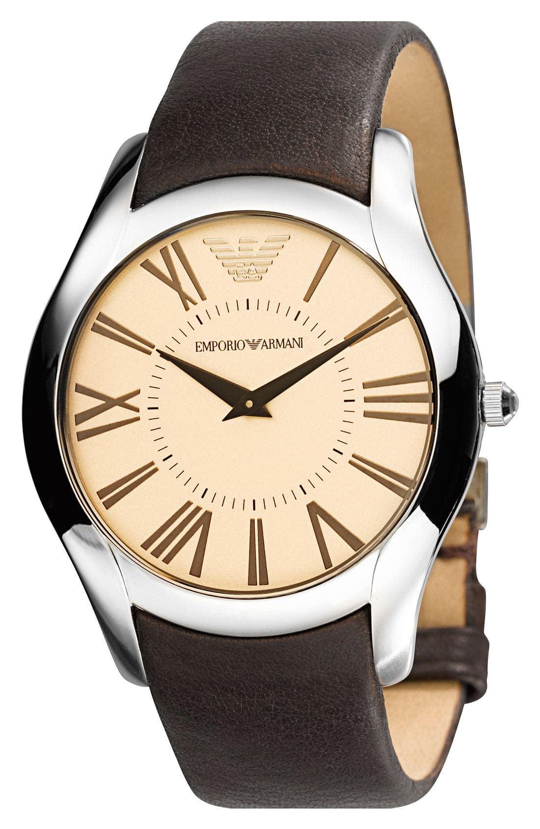 Alternate Image 1 Selected - Emporio Armani  Round Case Leather Strap Watch