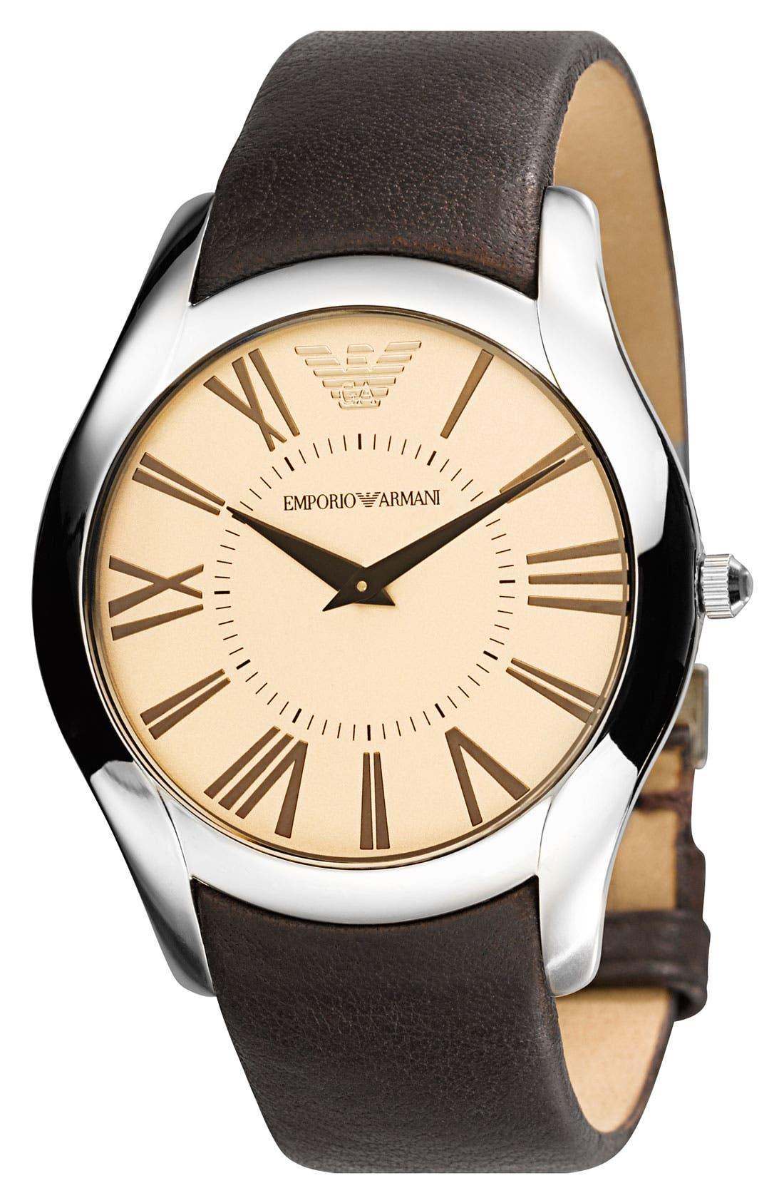 Main Image - Emporio Armani  Round Case Leather Strap Watch
