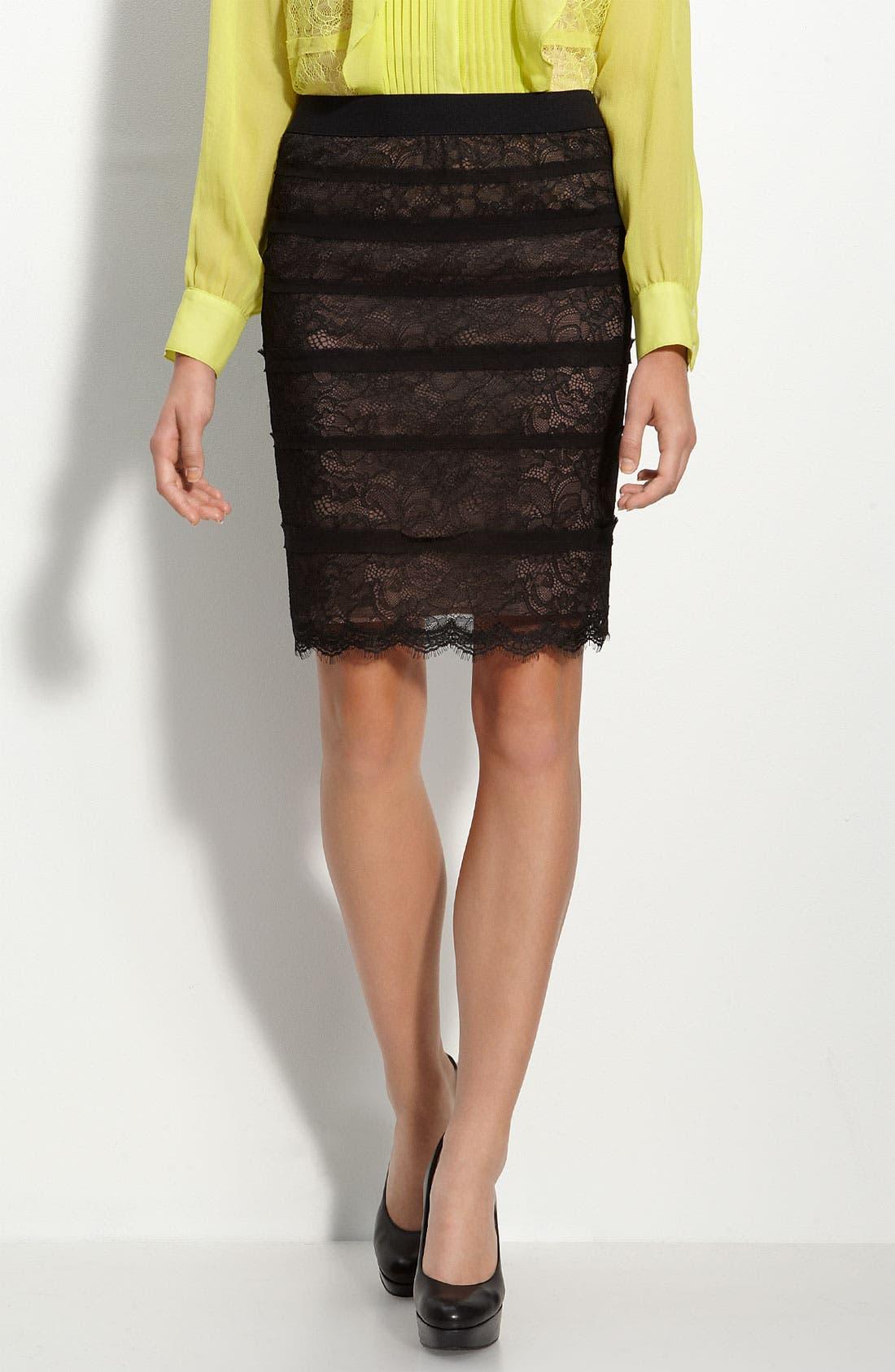 Main Image - BCBGMAXAZRIA 'Jocelyn' Lace Pencil Skirt