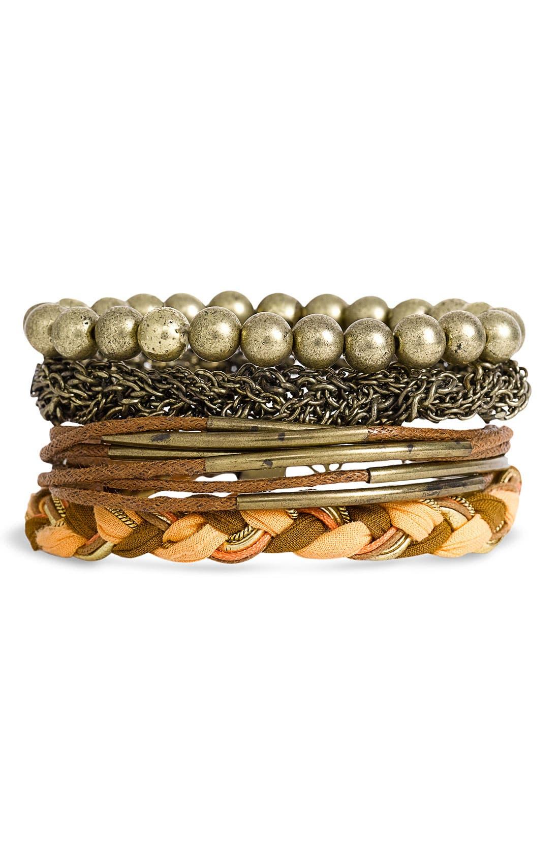 Main Image - Stephan & Co. Mixed Media Bracelets (Set of 4)