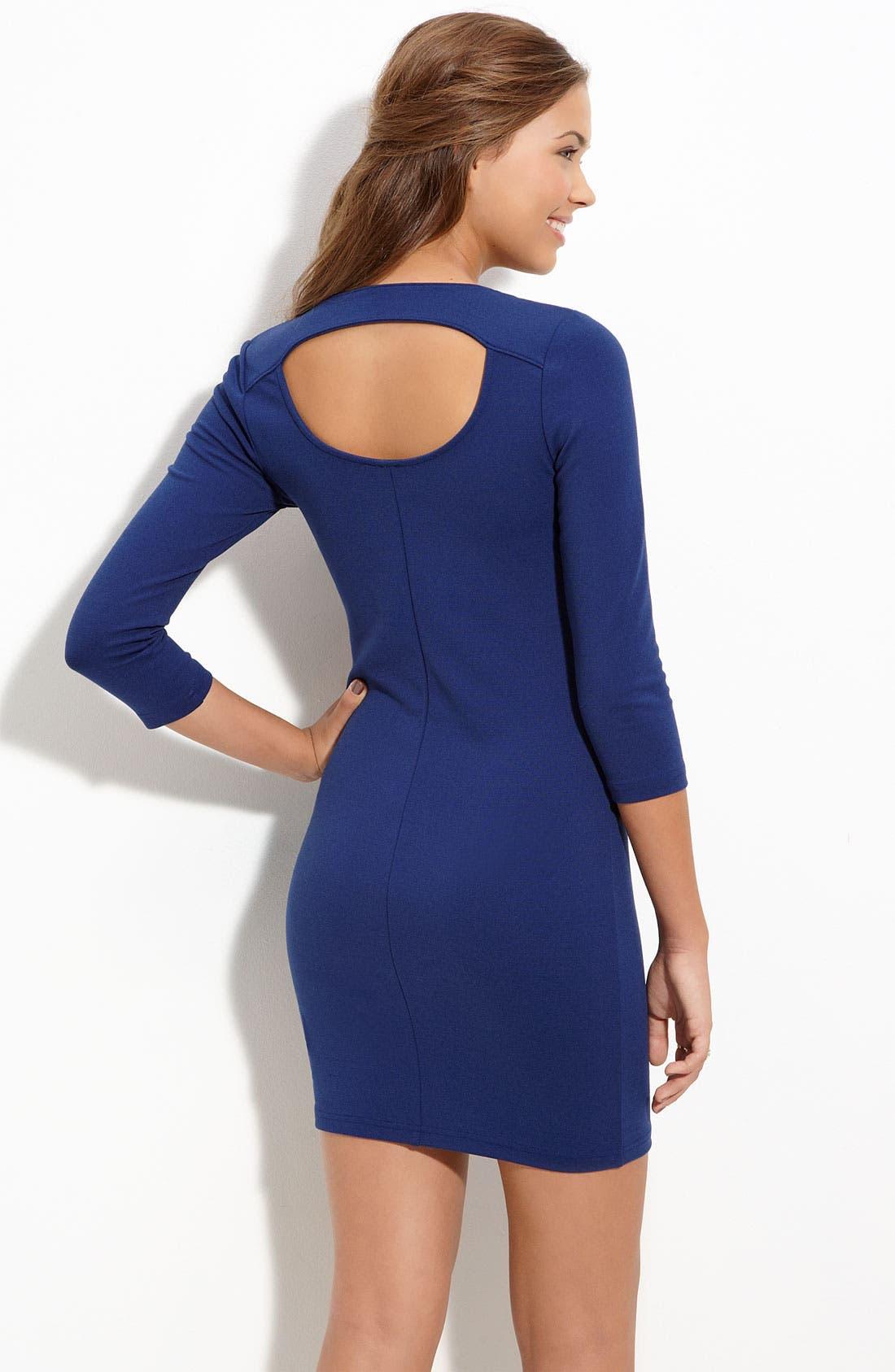 Alternate Image 2  - Frenchi® Back Cutout Knit Dress (Juniors)