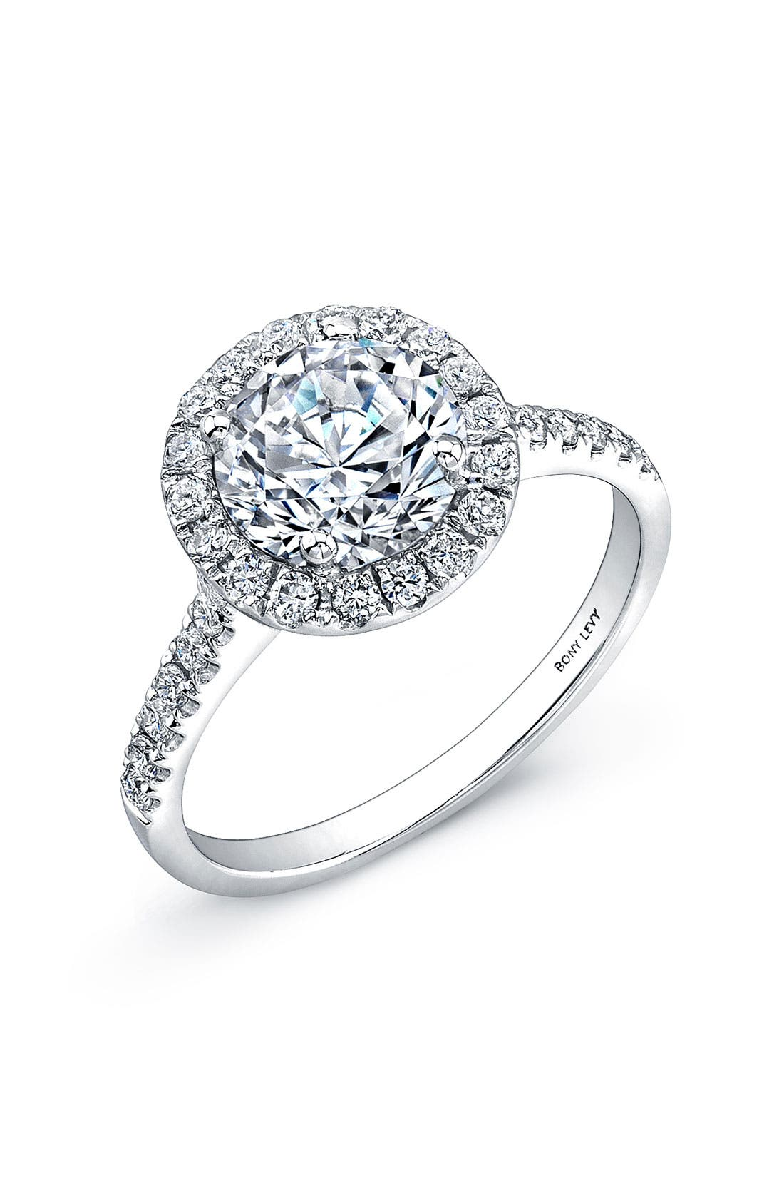 Main Image - Bony Levy Pavé Diamond Leaf Engagement Ring Setting (Nordstrom Exclusive)