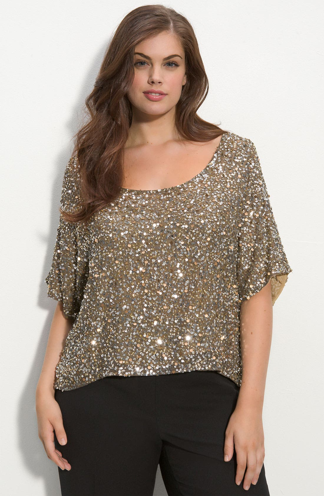 Alternate Image 1 Selected - Vince Camuto Sequined Silk Blouse (Plus)