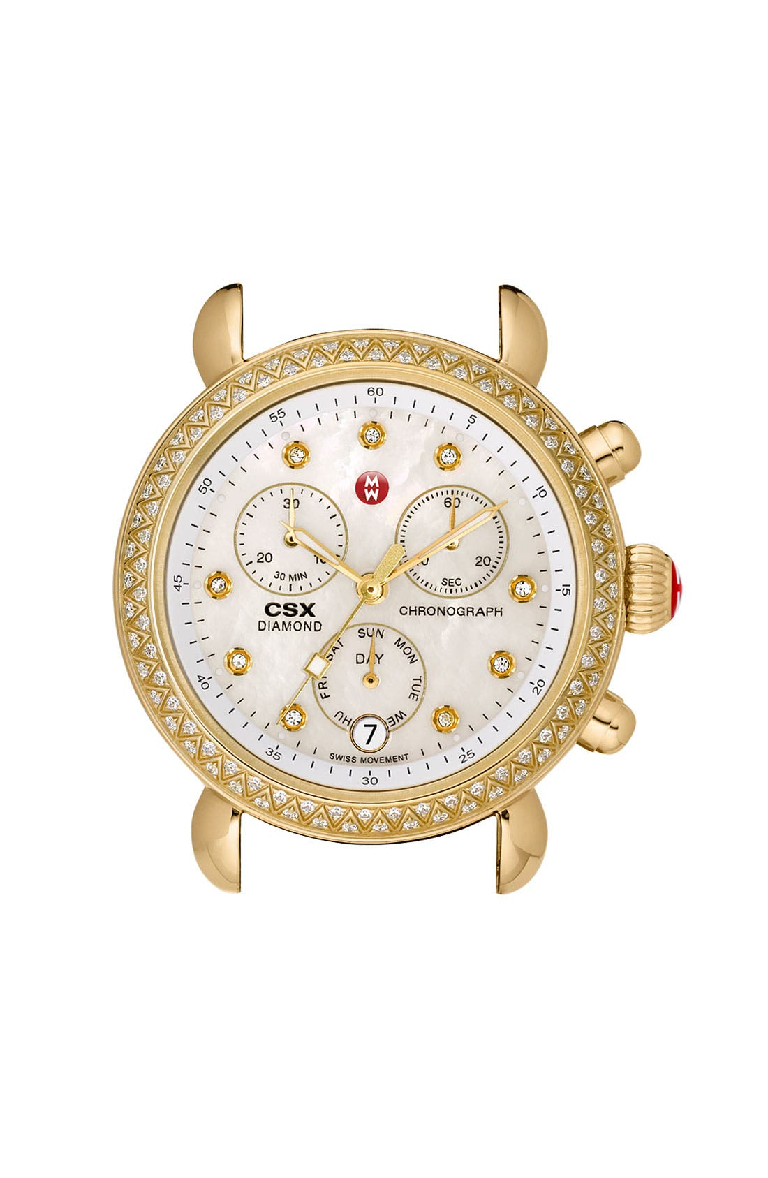 Main Image - MICHELE 'CSX-36 Diamond' Diamond Dial Gold Plated Watch Case, 36mm