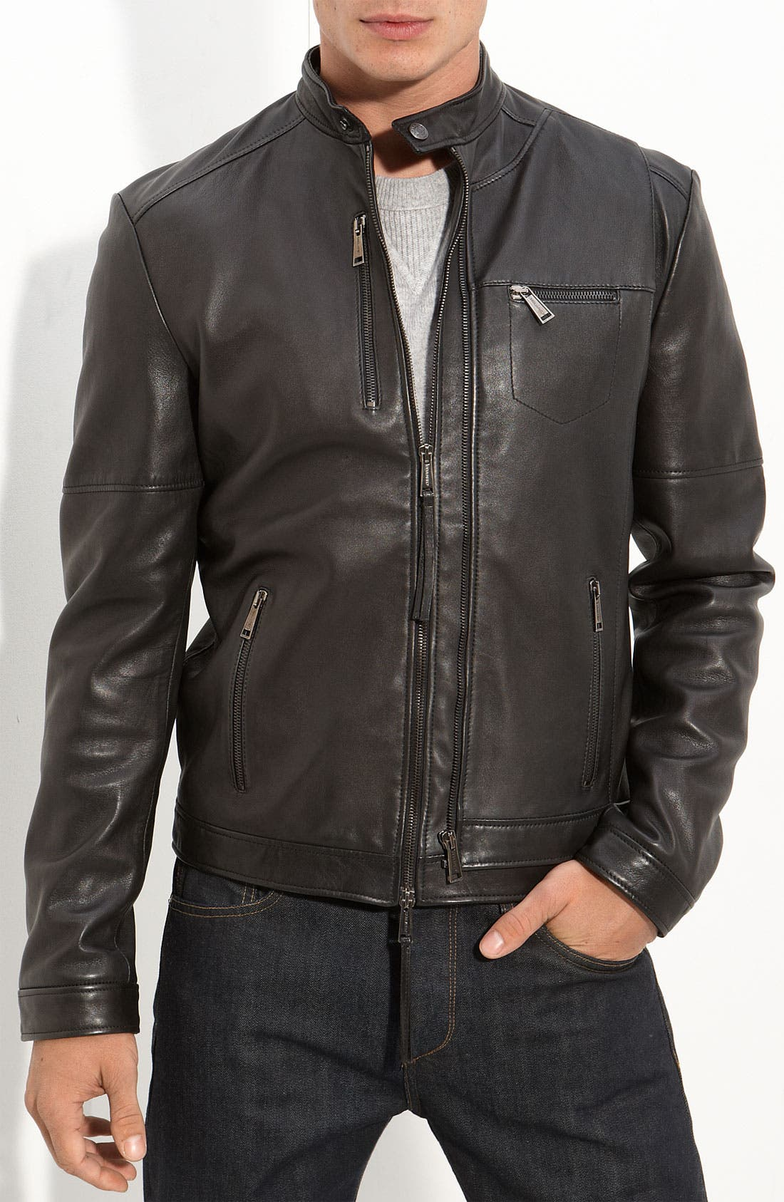 Alternate Image 1 Selected - Dsquared2 Leather Moto Jacket