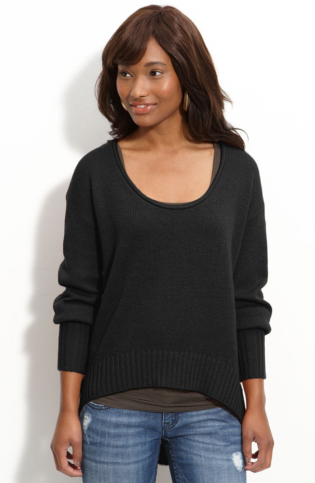 Main Image - Frenchi® Slouchy Scoop Asymmetric Hem Sweater (Juniors)