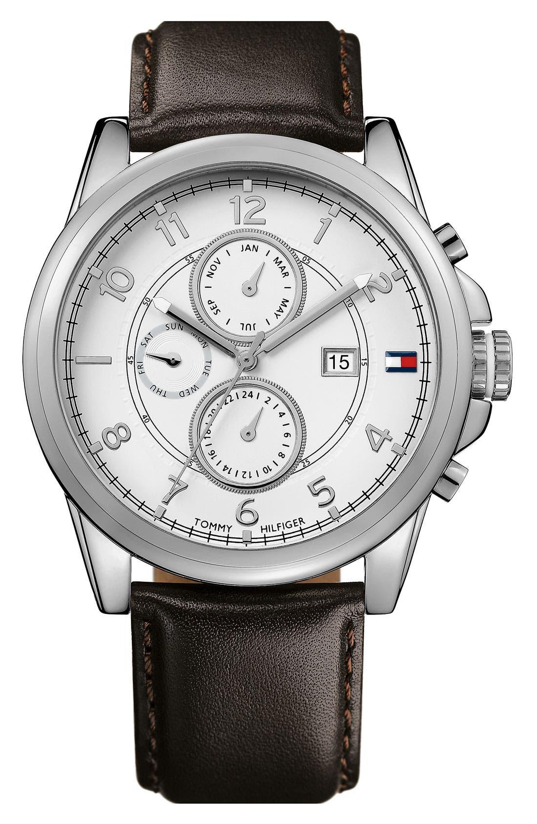 Main Image - Tommy Hilfiger Multi Eye Leather Strap Watch, 46mm