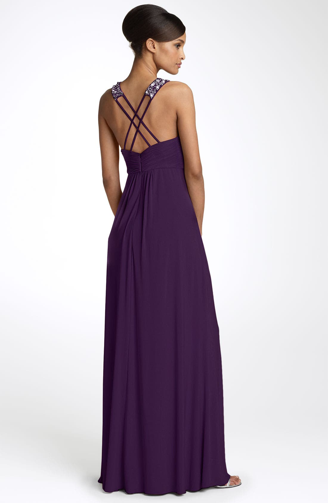 Alternate Image 2  - JS Boutique Bead Neck Jersey Gown