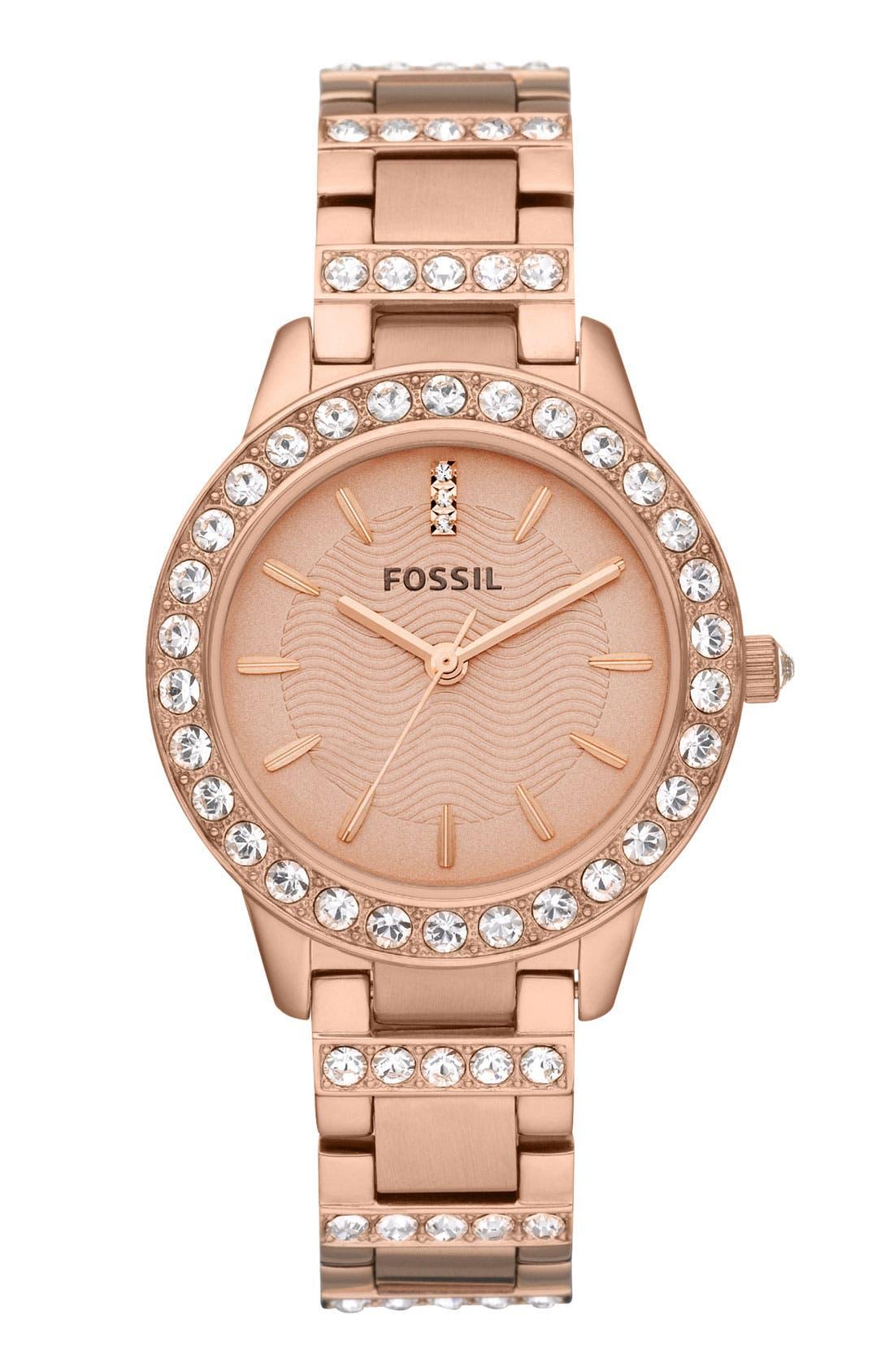 Main Image - Fossil 'Jesse' Crystal Embellished Bracelet Watch, 34mm