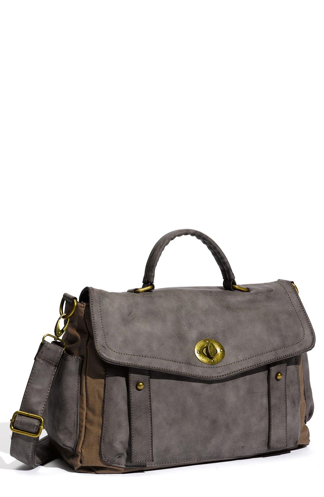 Main Image - Cesca Vintage Weathered Faux Leather Satchel