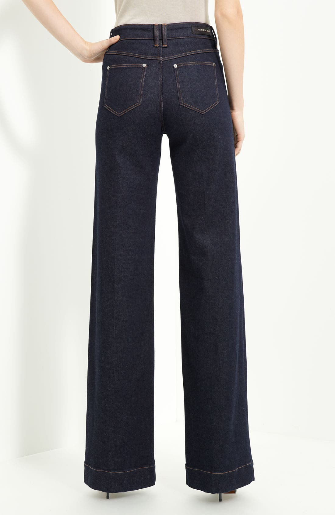 Alternate Image 1 Selected - Burberry London Wide Leg Stretch Jeans (New London Rinse)