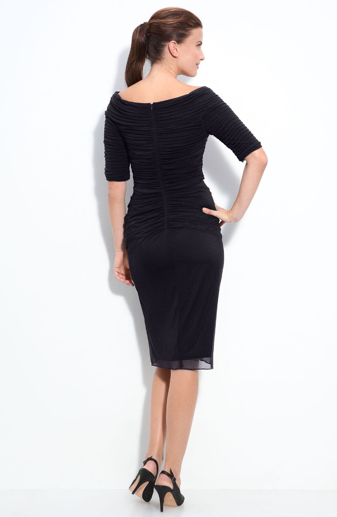 Alternate Image 2  - Tadashi Shoji Asymmetrical Ruched Mesh Dress