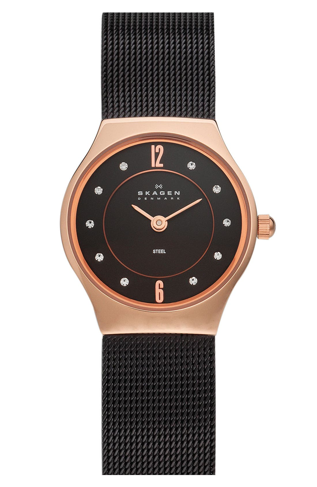 Alternate Image 1 Selected - Skagen 'Mesh' Crystal Accent Watch