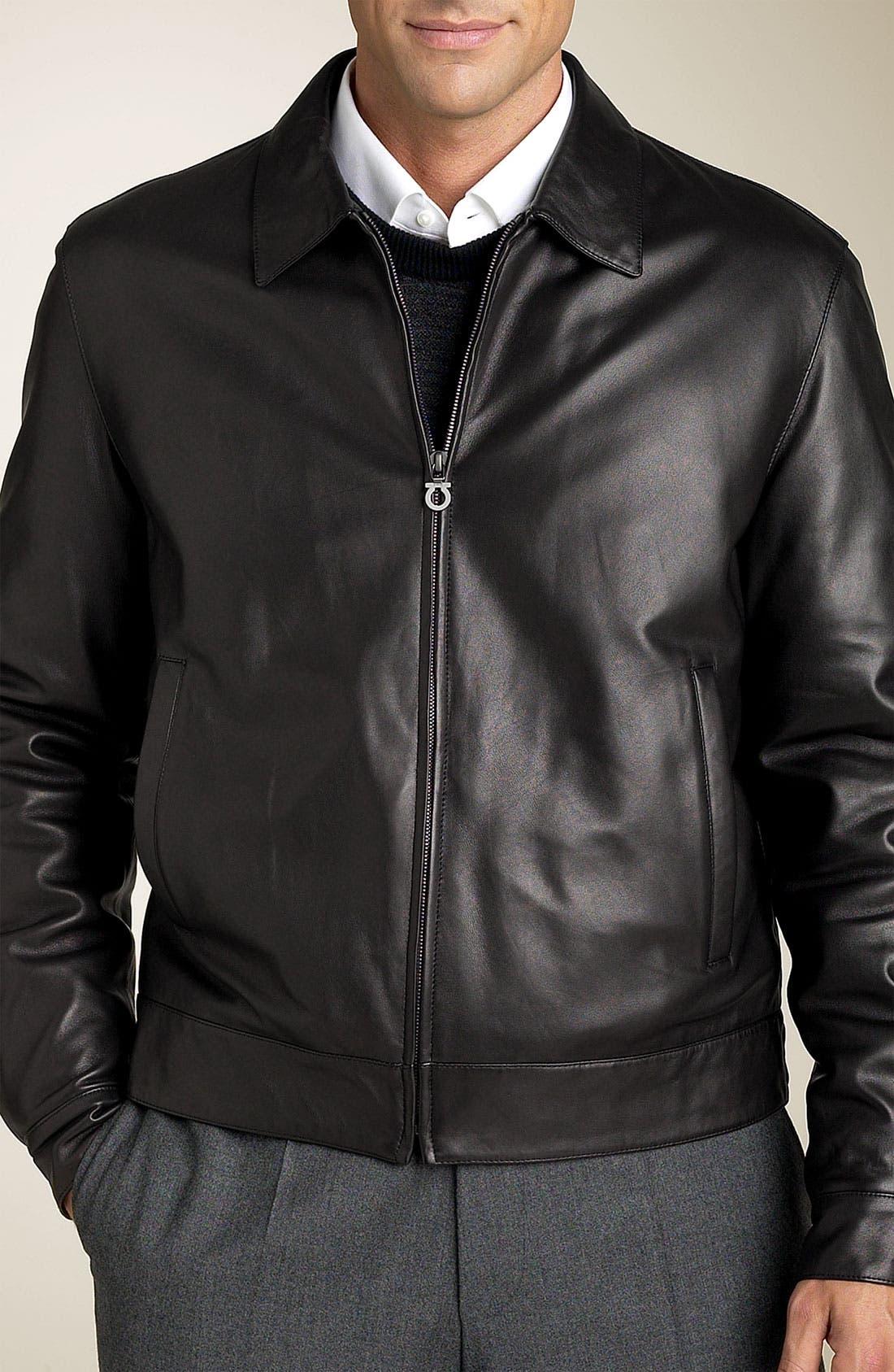 Alternate Image 1 Selected - Salvatore Ferragamo Calf Leather Blouson