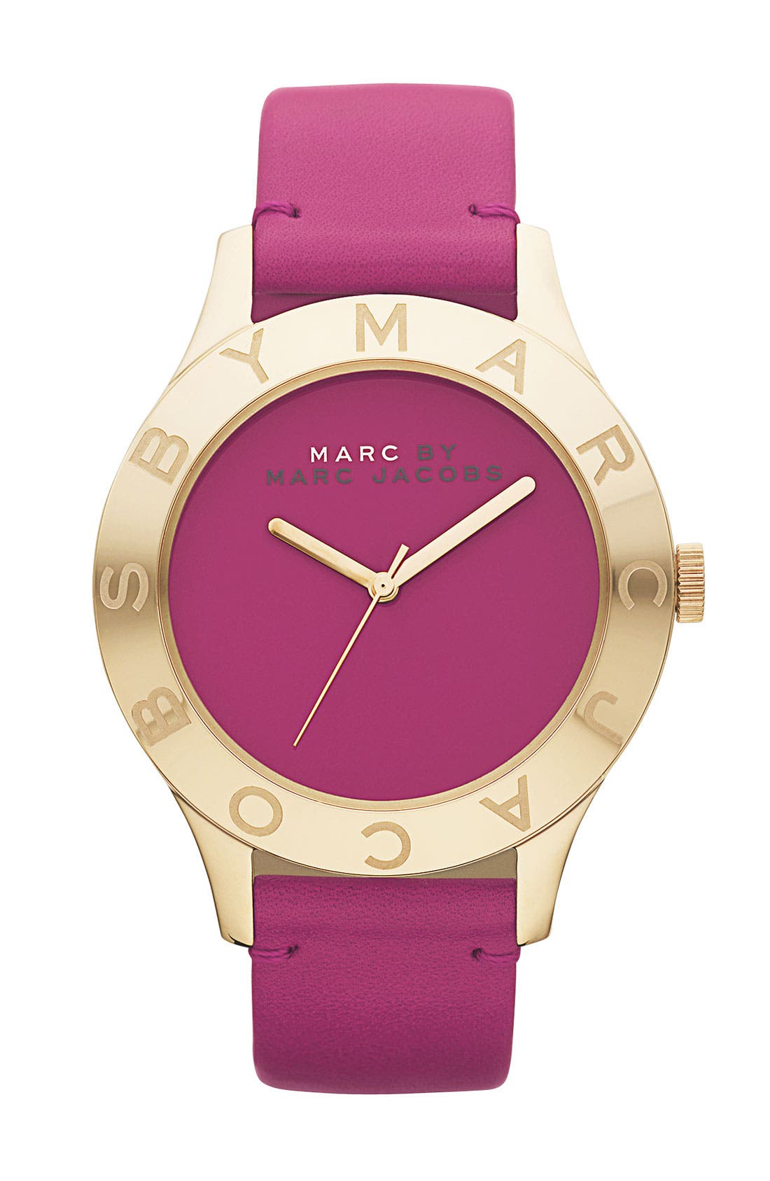 Main Image - MARC JACOBS 'Blade' Round Leather Strap Watch
