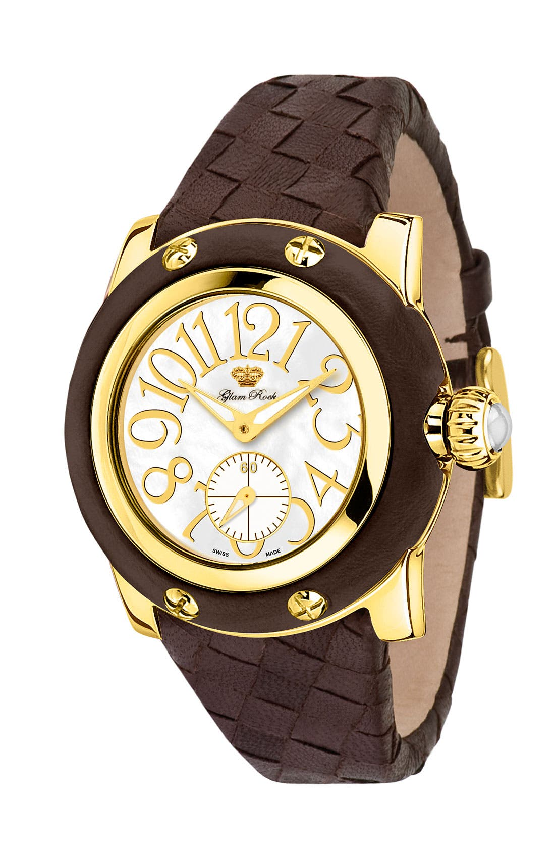 Main Image - Glam Rock 'Palm Beach' Woven Strap Watch, 40mm